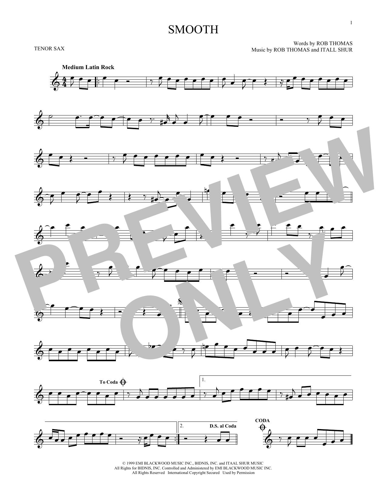 Partition saxophone Smooth de Santana featuring Rob Thomas - Sax Tenor