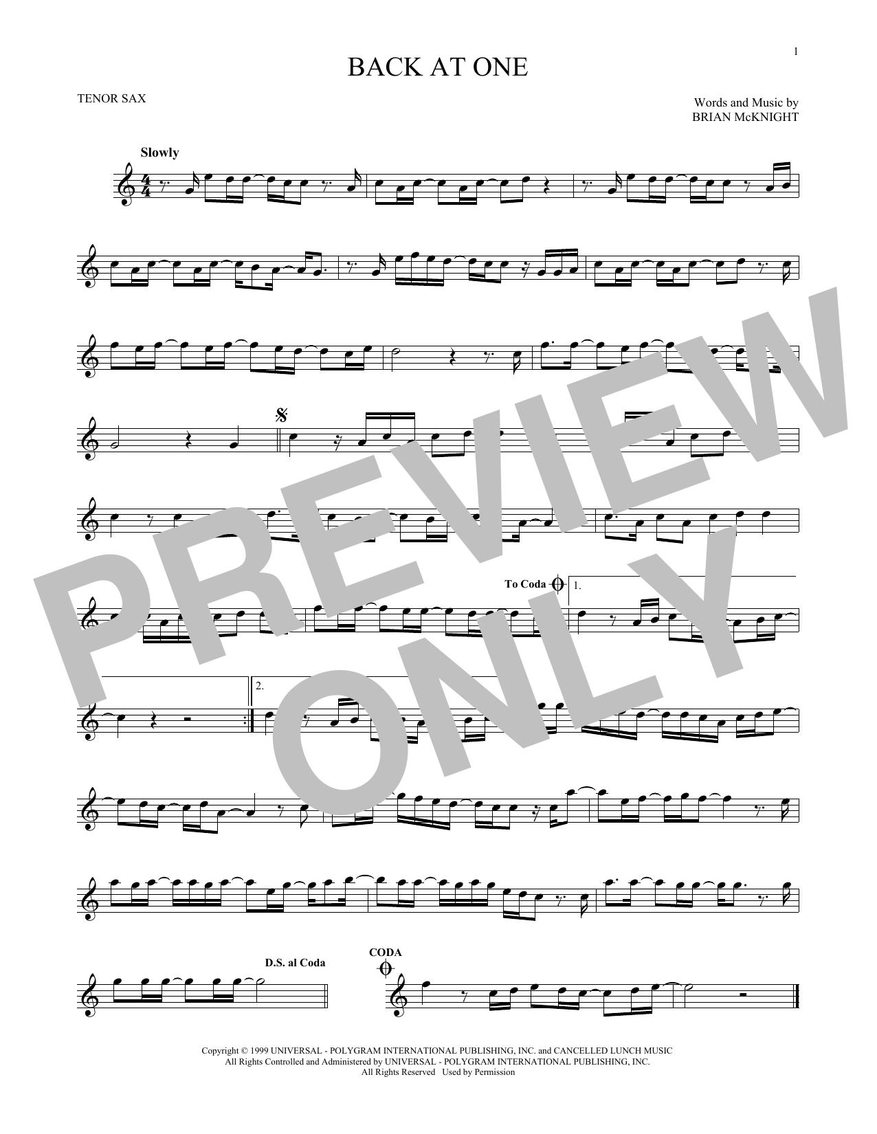 Partition saxophone Back At One de Brian McKnight - Sax Tenor