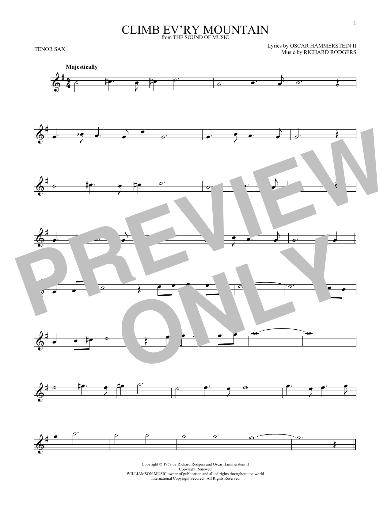 Climb Ev'ry Mountain (from The Sound of Music) (Tenor Sax Solo)