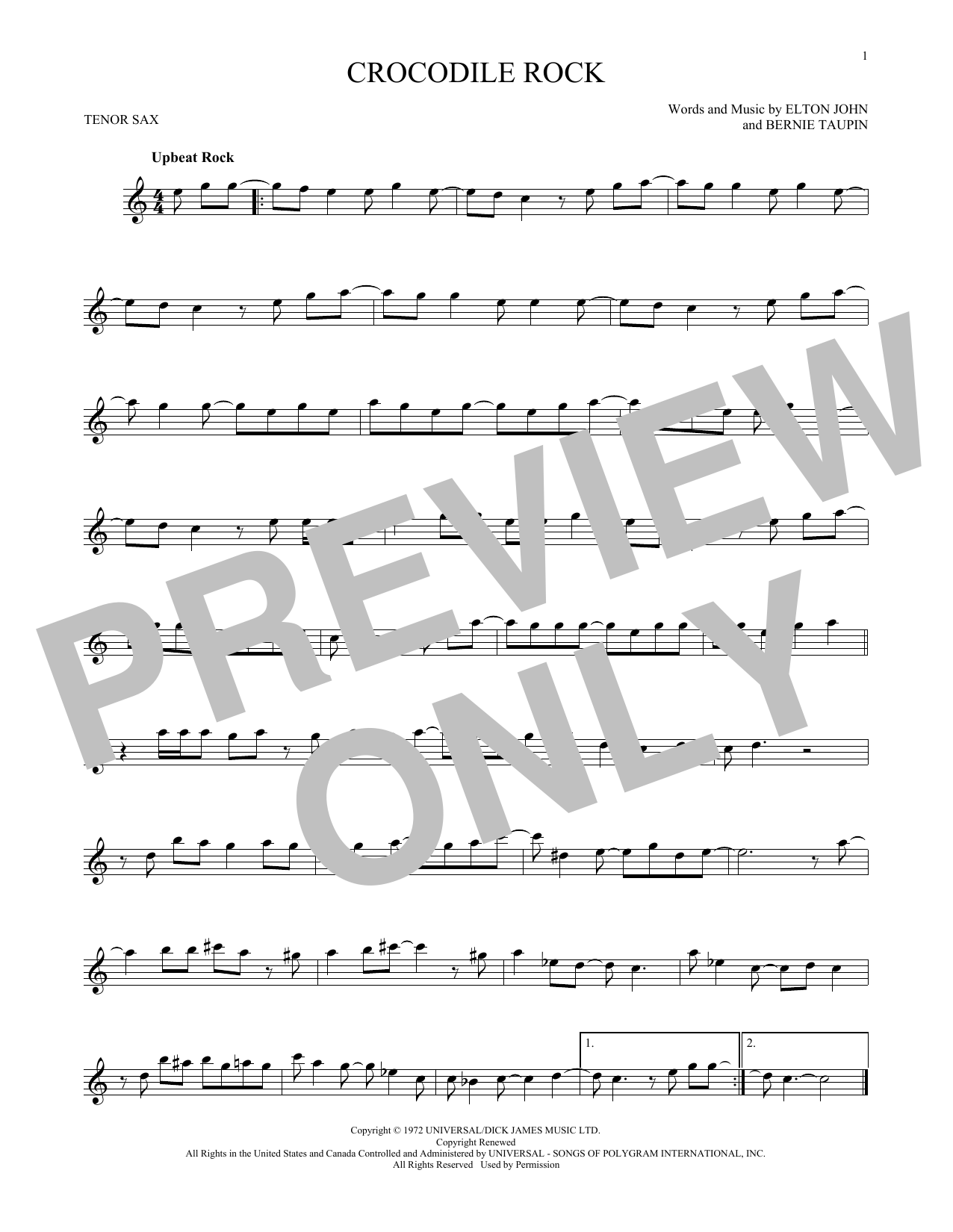 Partition saxophone Crocodile Rock de Elton John - Sax Tenor