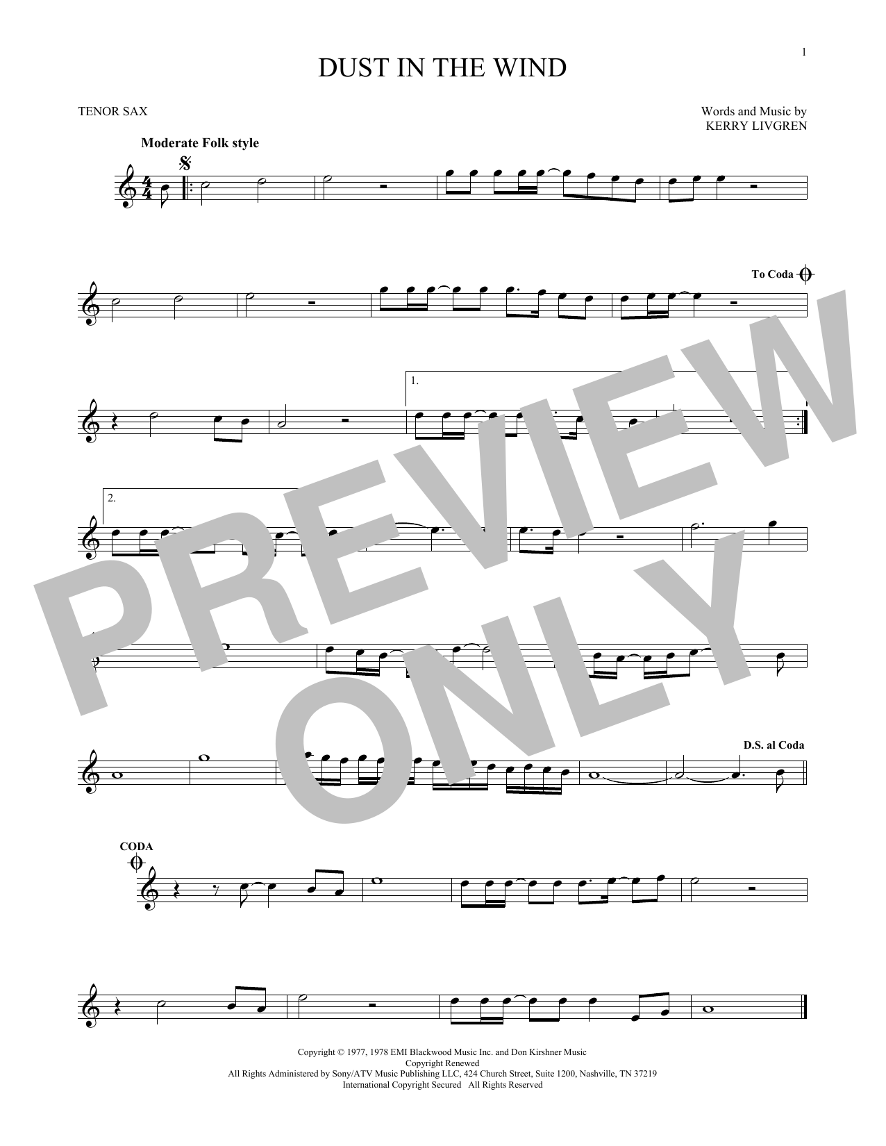 Dust In The Wind sheet music by Kansas (Tenor Saxophone u2013 167778)
