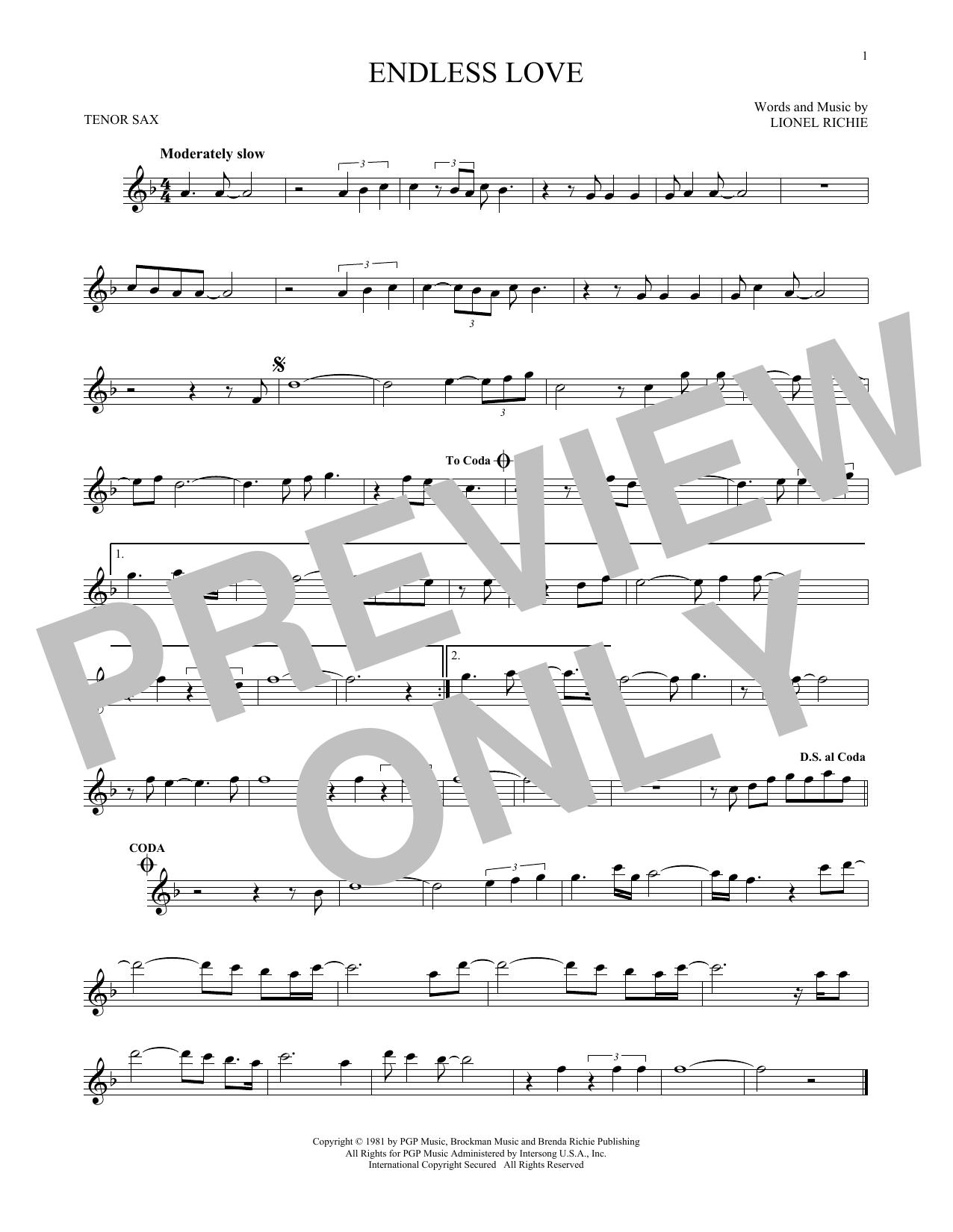 Partition saxophone Endless Love de Lionel Richie & Diana Ross - Sax Tenor