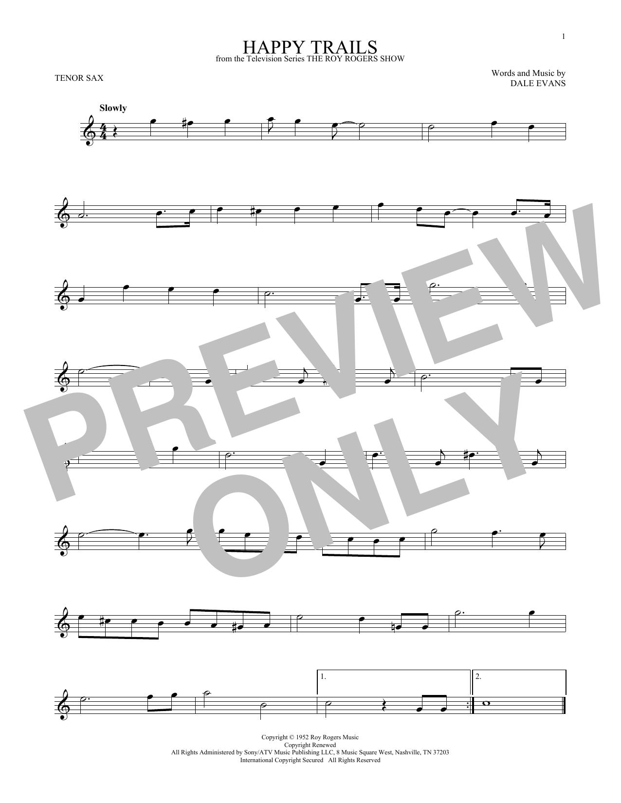Partition saxophone Happy Trails de Roy Rogers - Sax Tenor
