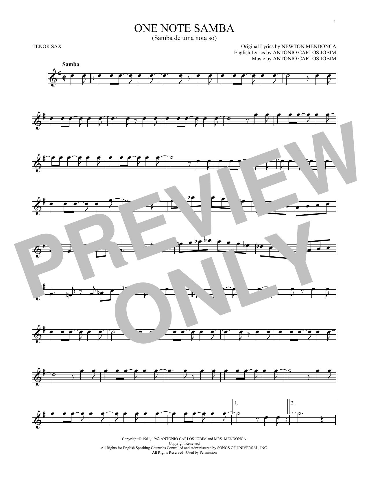 One Note Samba (Samba De Uma Nota So) (Tenor Sax Solo)