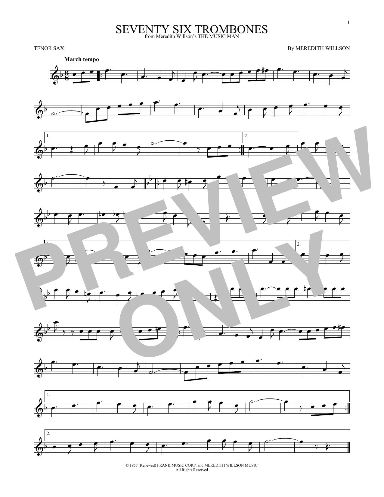 Seventy Six Trombones (Tenor Sax Solo)