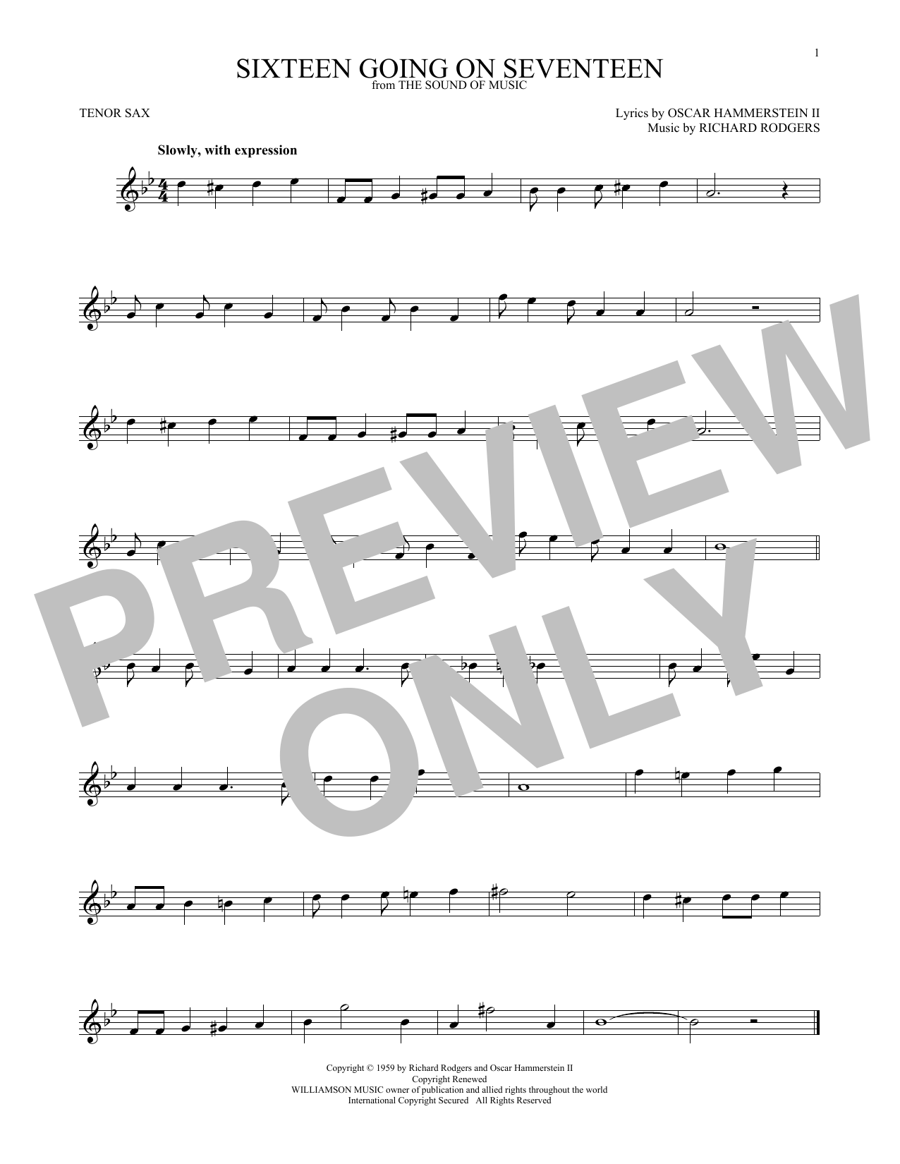 Sixteen Going On Seventeen (from The Sound of Music) (Tenor Sax Solo)