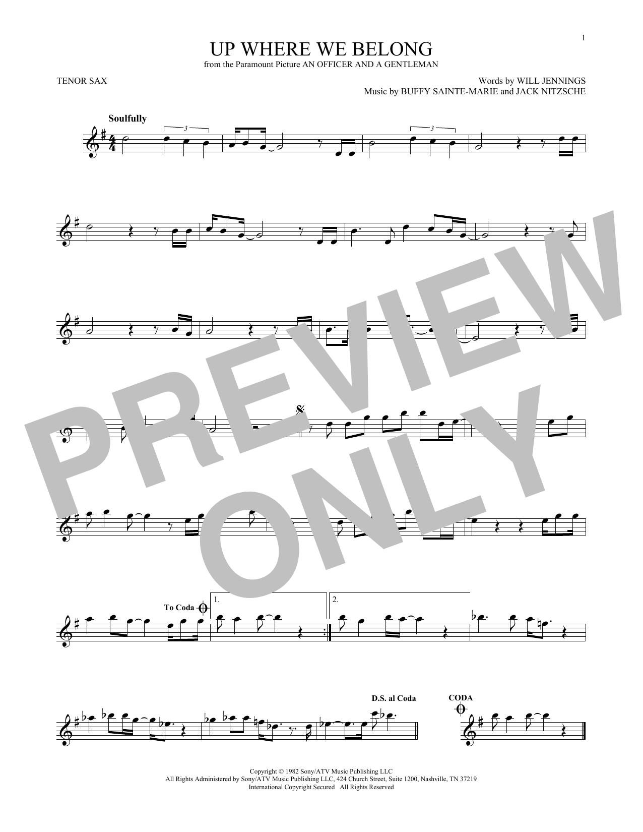 Partition saxophone Up Where We Belong (from An Officer And A Gentleman) de Joe Cocker and Jennifer Warnes - Sax Tenor