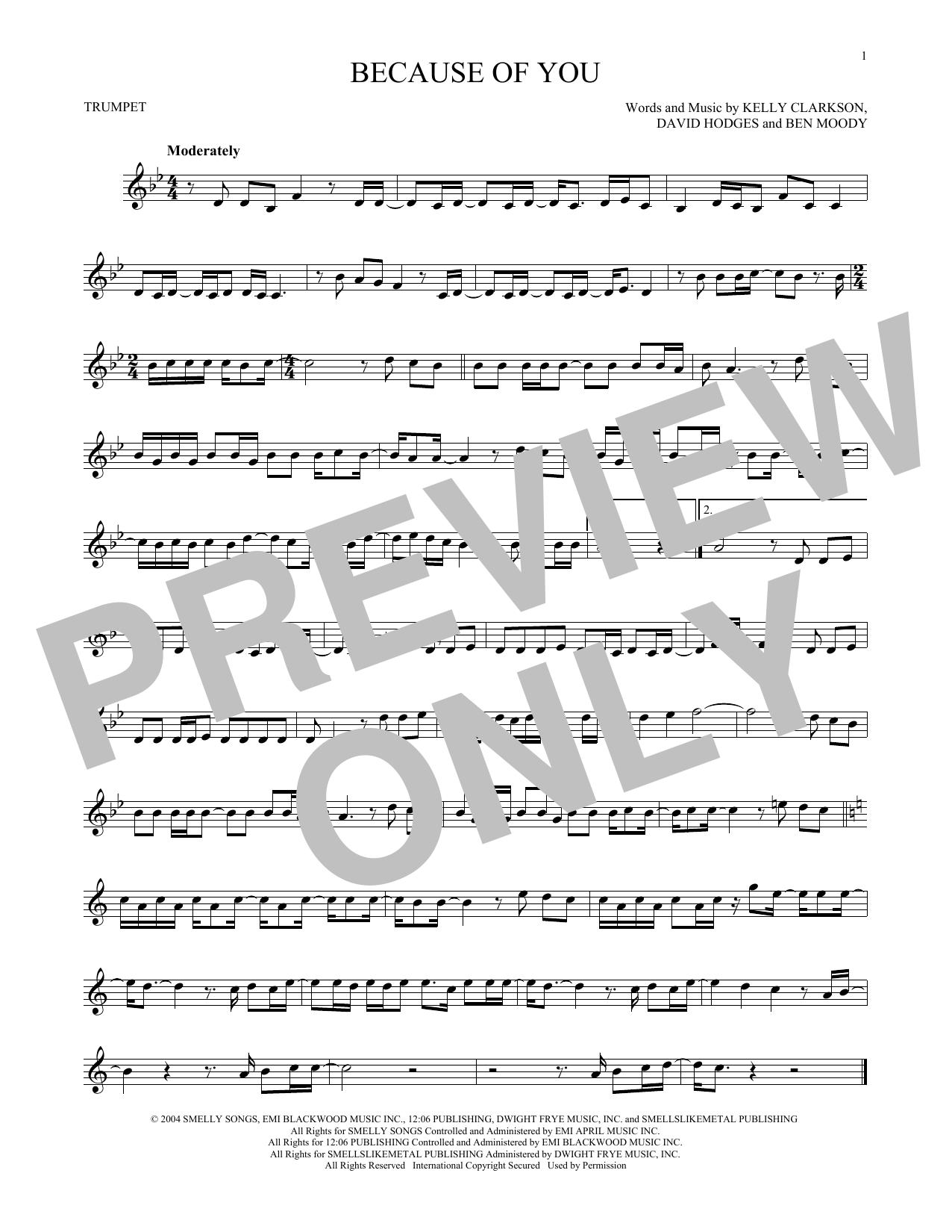 Partition autre Because Of You de Kelly Clarkson - Trompette