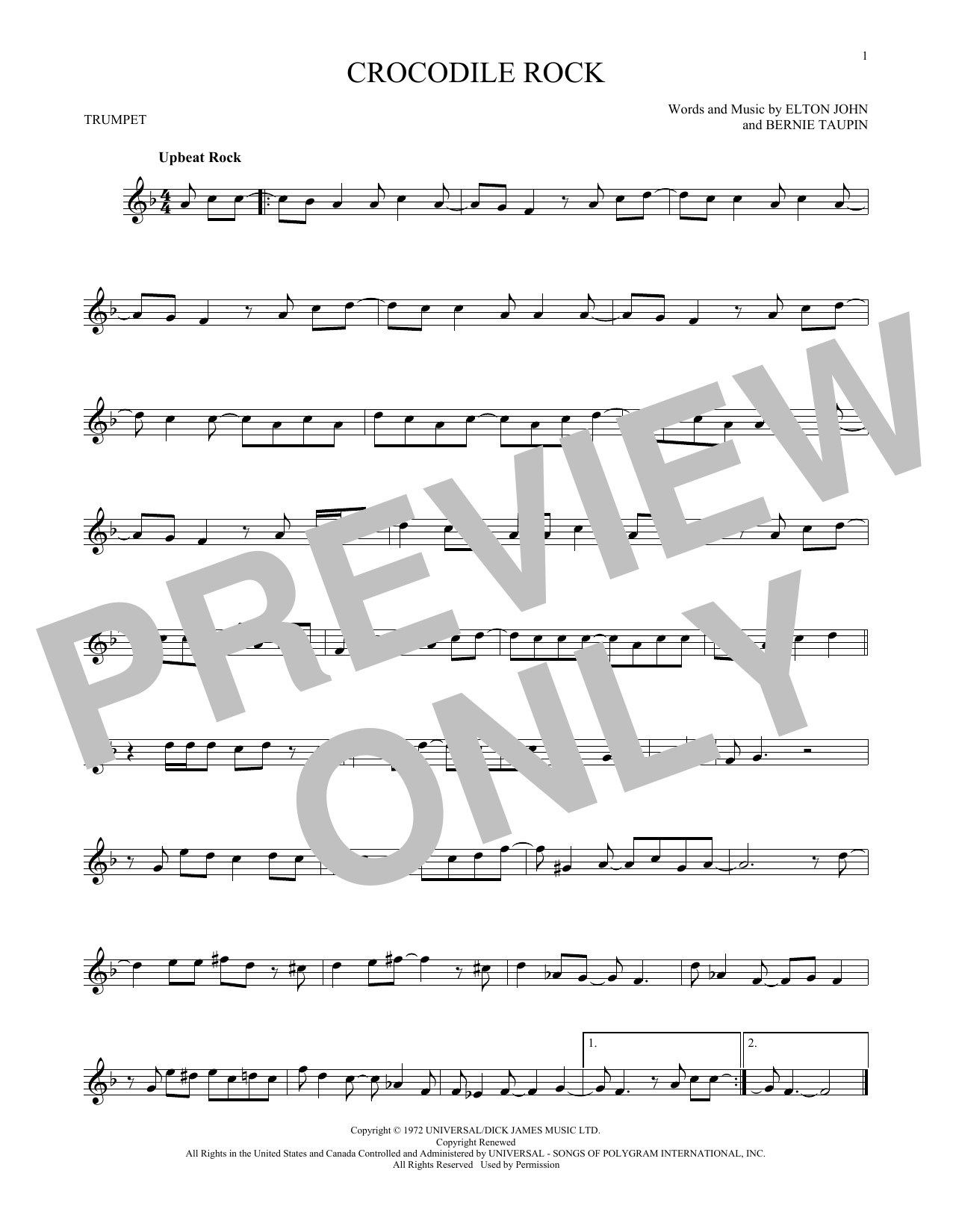 Crocodile Rock Sheet Music
