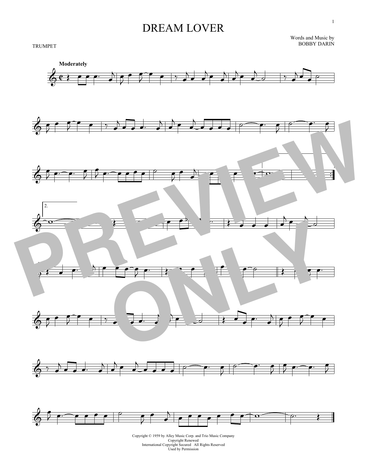 Partition autre Dream Lover de Bobby Darin - Trompette