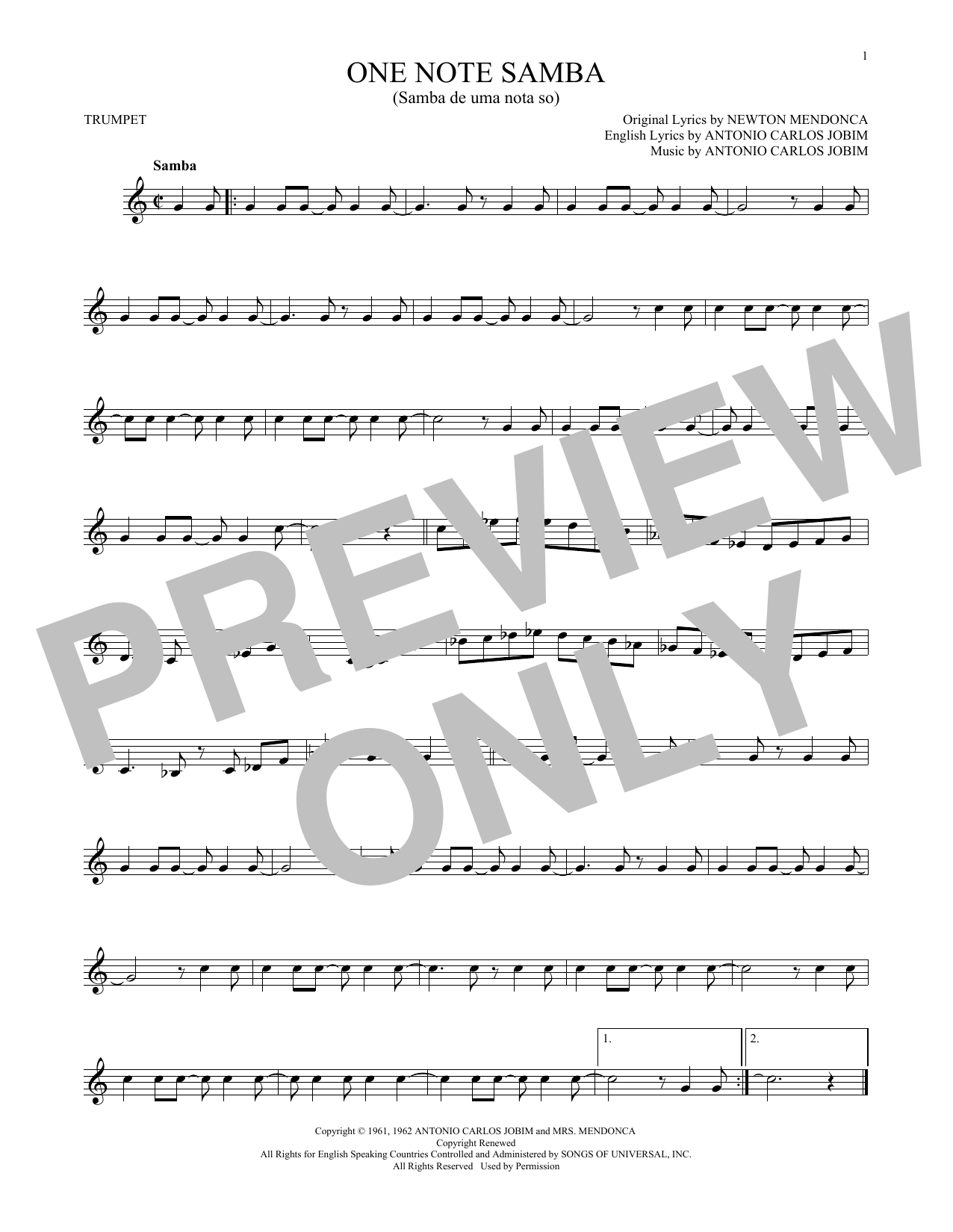 One Note Samba (Samba De Uma Nota So) (Trumpet Solo)