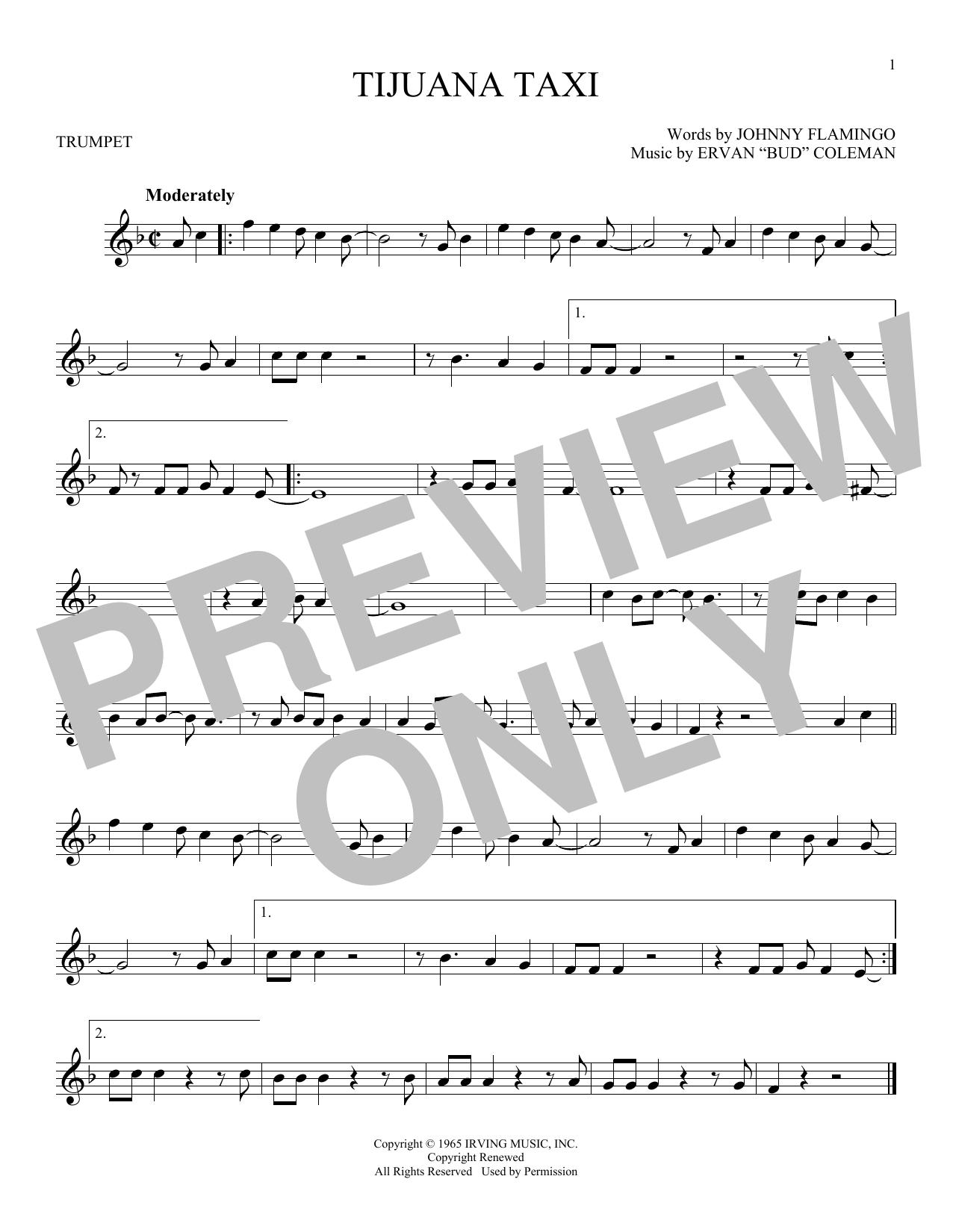 Tijuana Taxi Sheet Music