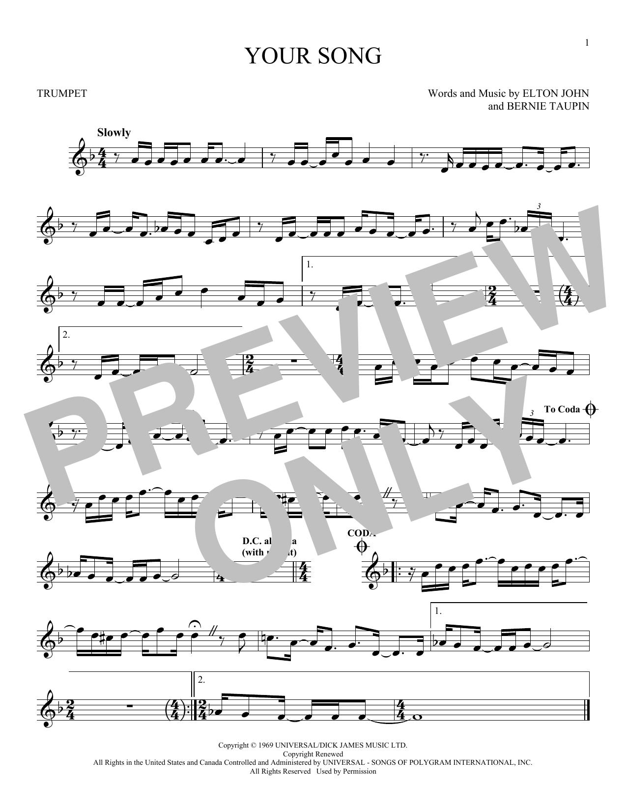 Partition autre Your Song de Elton John - Trompette