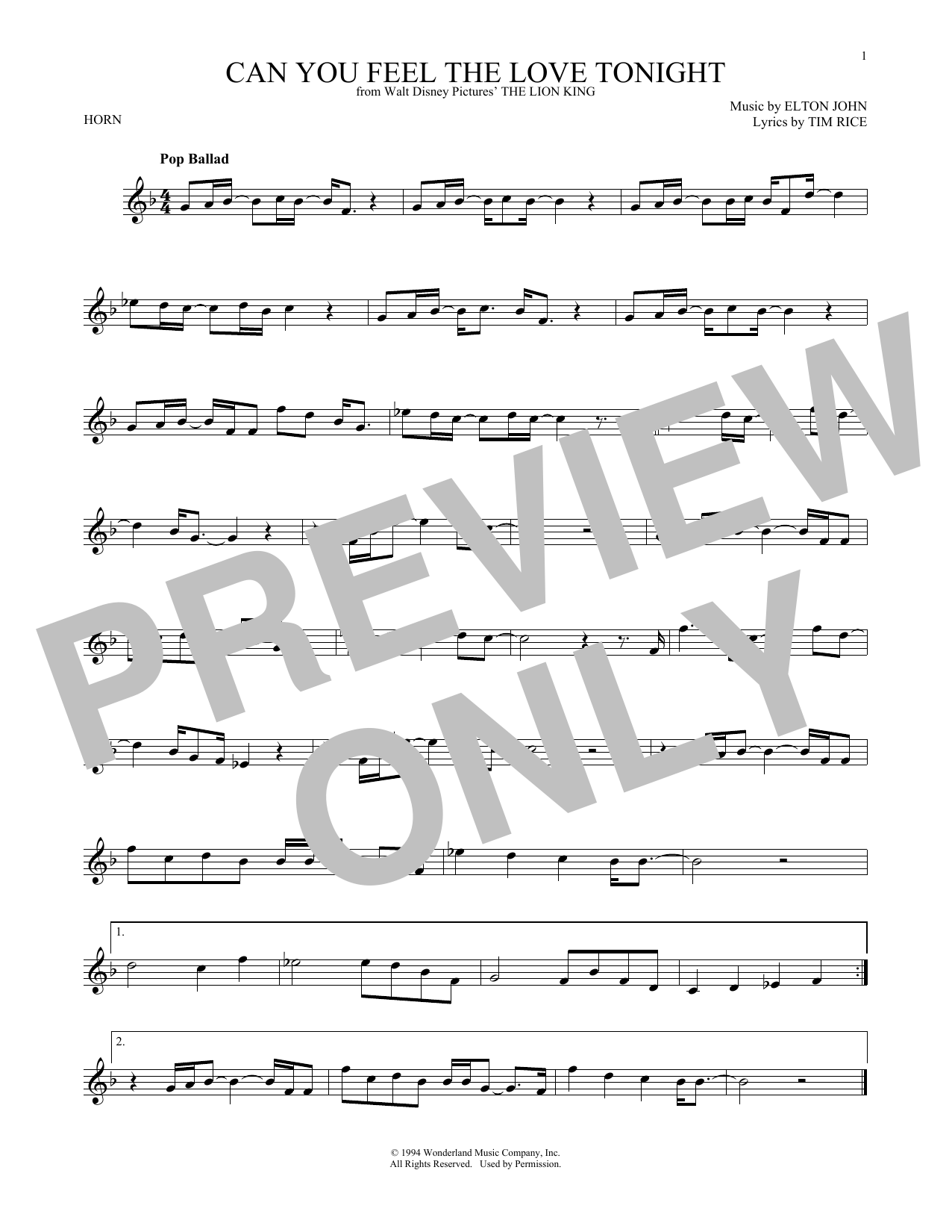 Can You Feel The Love Tonight (from The Lion King) (French Horn Solo)