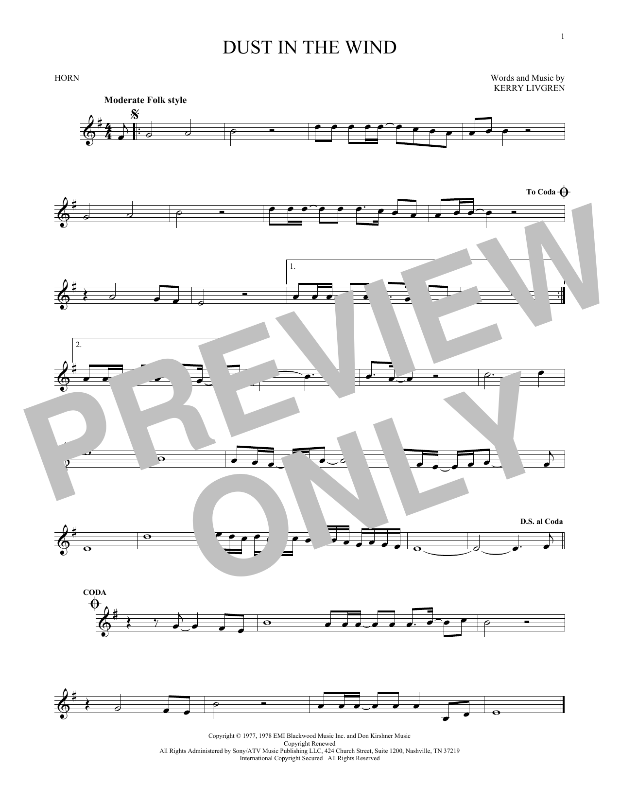 Dust In The Wind Sheet Music