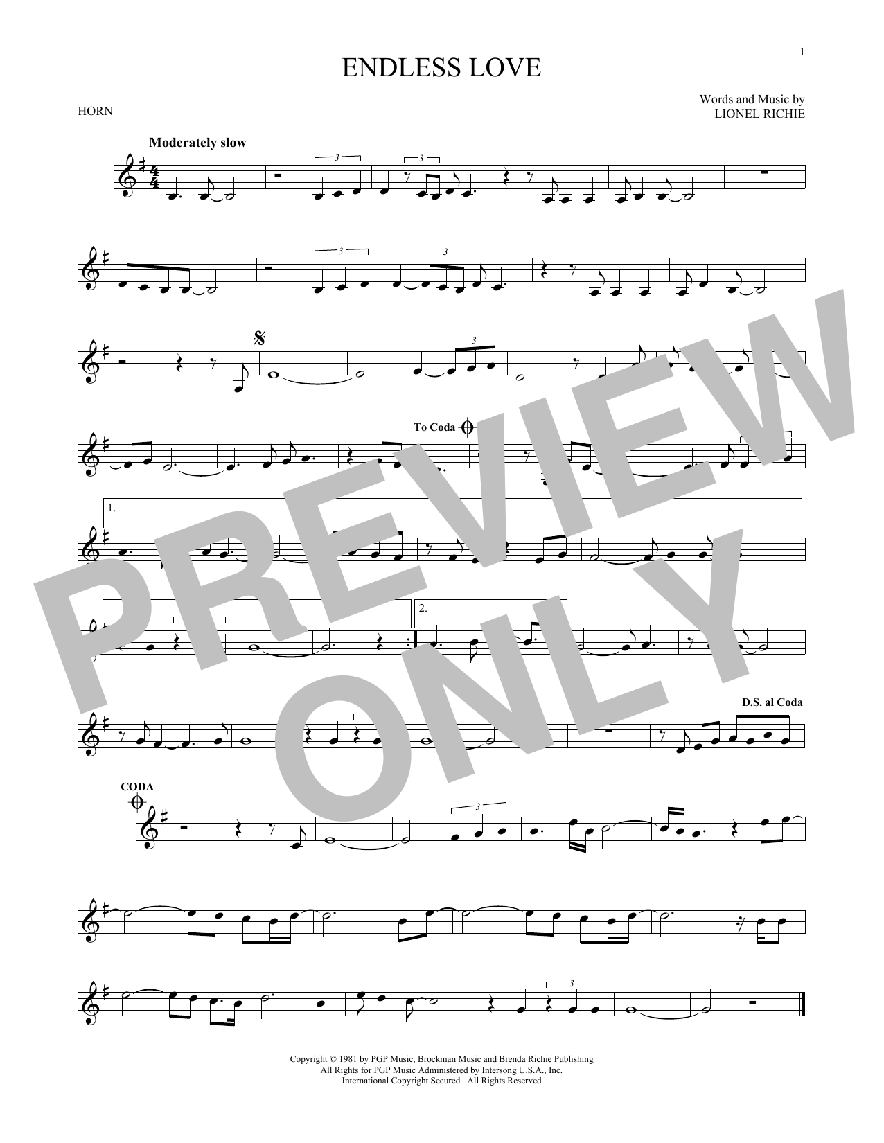 Endless Love (French Horn Solo)