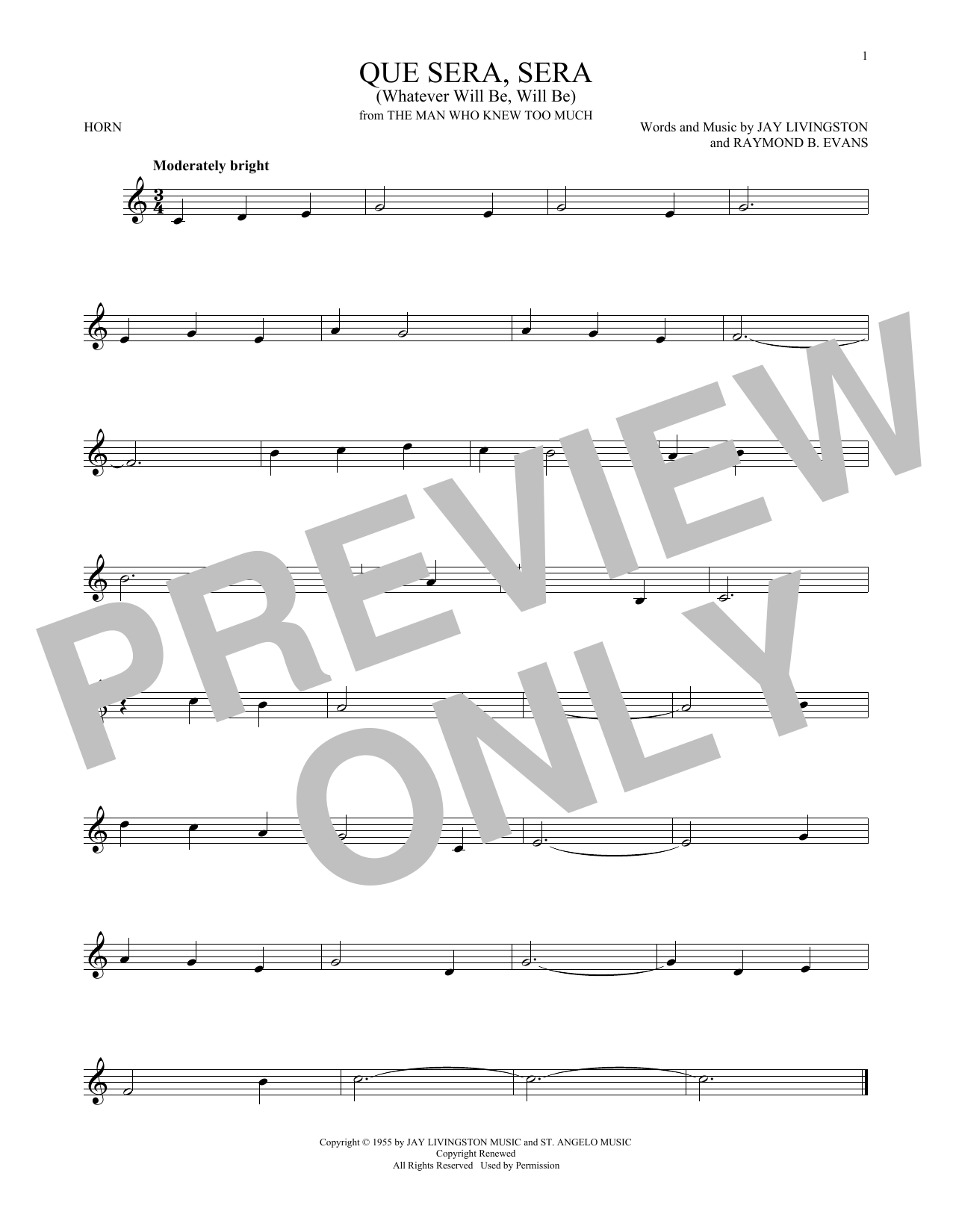 Que Sera, Sera (Whatever Will Be, Will Be) (French Horn Solo)