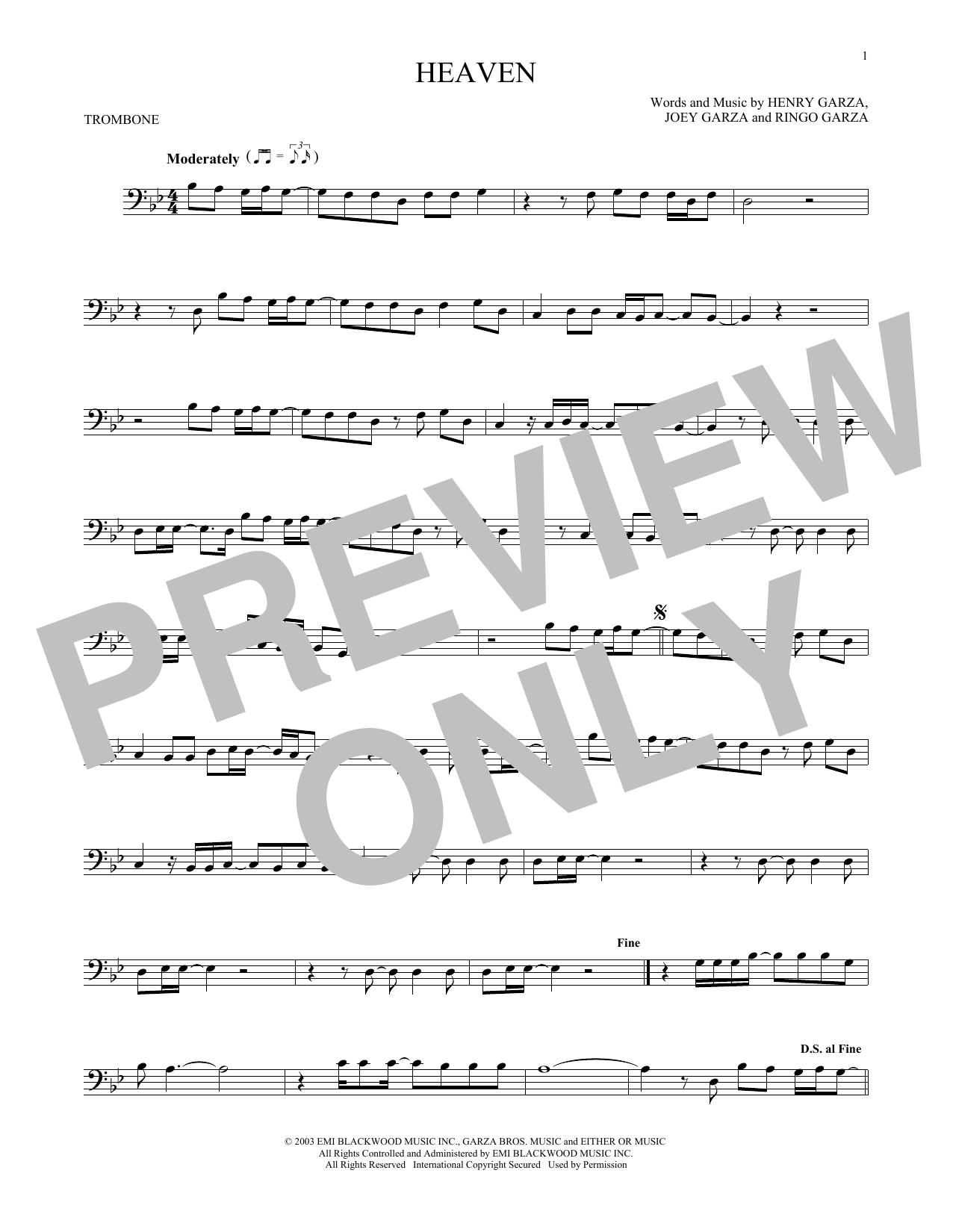 Partition autre Heaven de Los Lonely Boys - Trombone