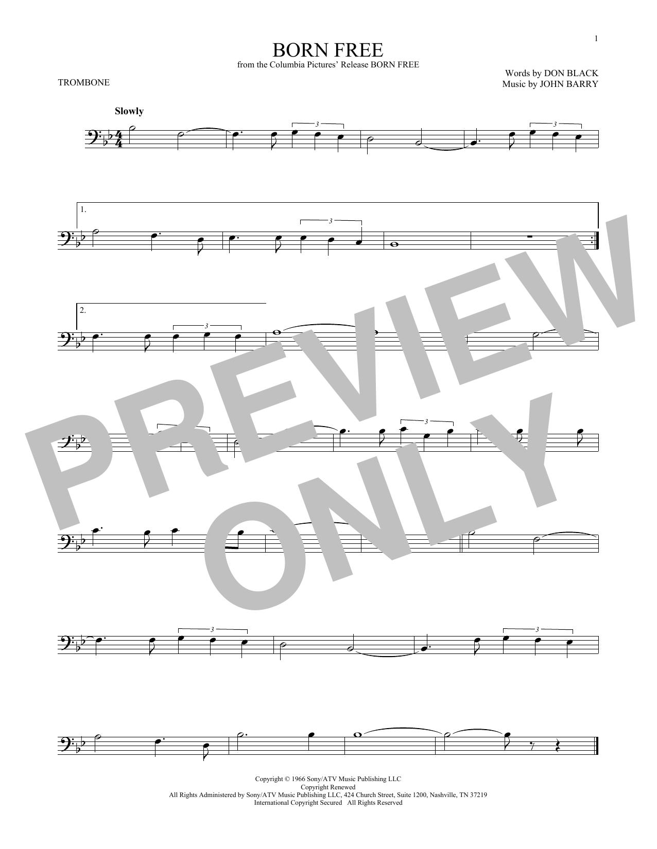 Partition autre Born Free de John Barry - Trombone