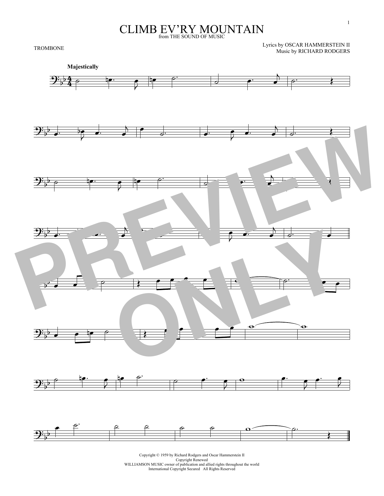 Climb Ev'ry Mountain (from The Sound of Music) (Trombone Solo)