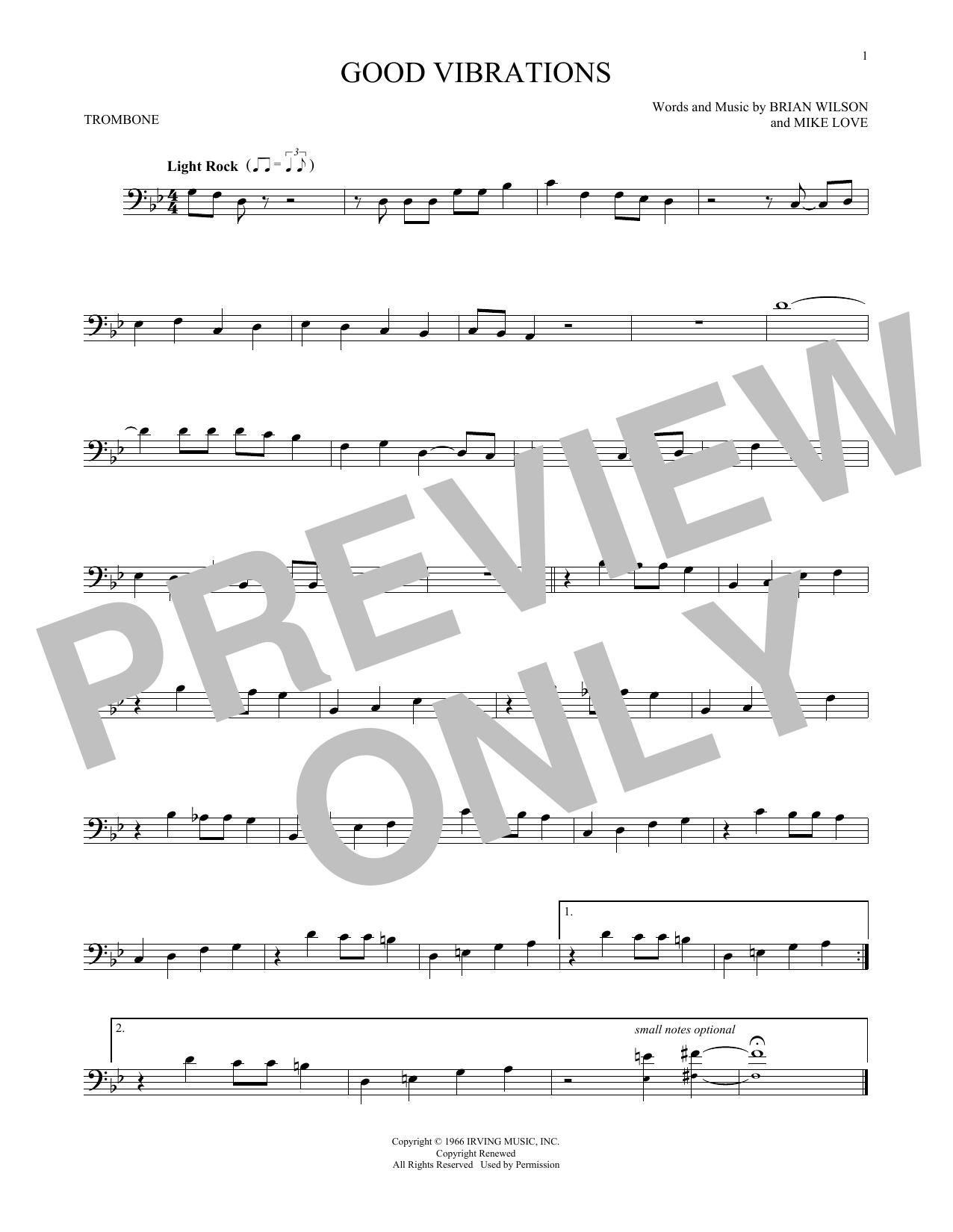 Partition autre Good Vibrations de The Beach Boys - Trombone