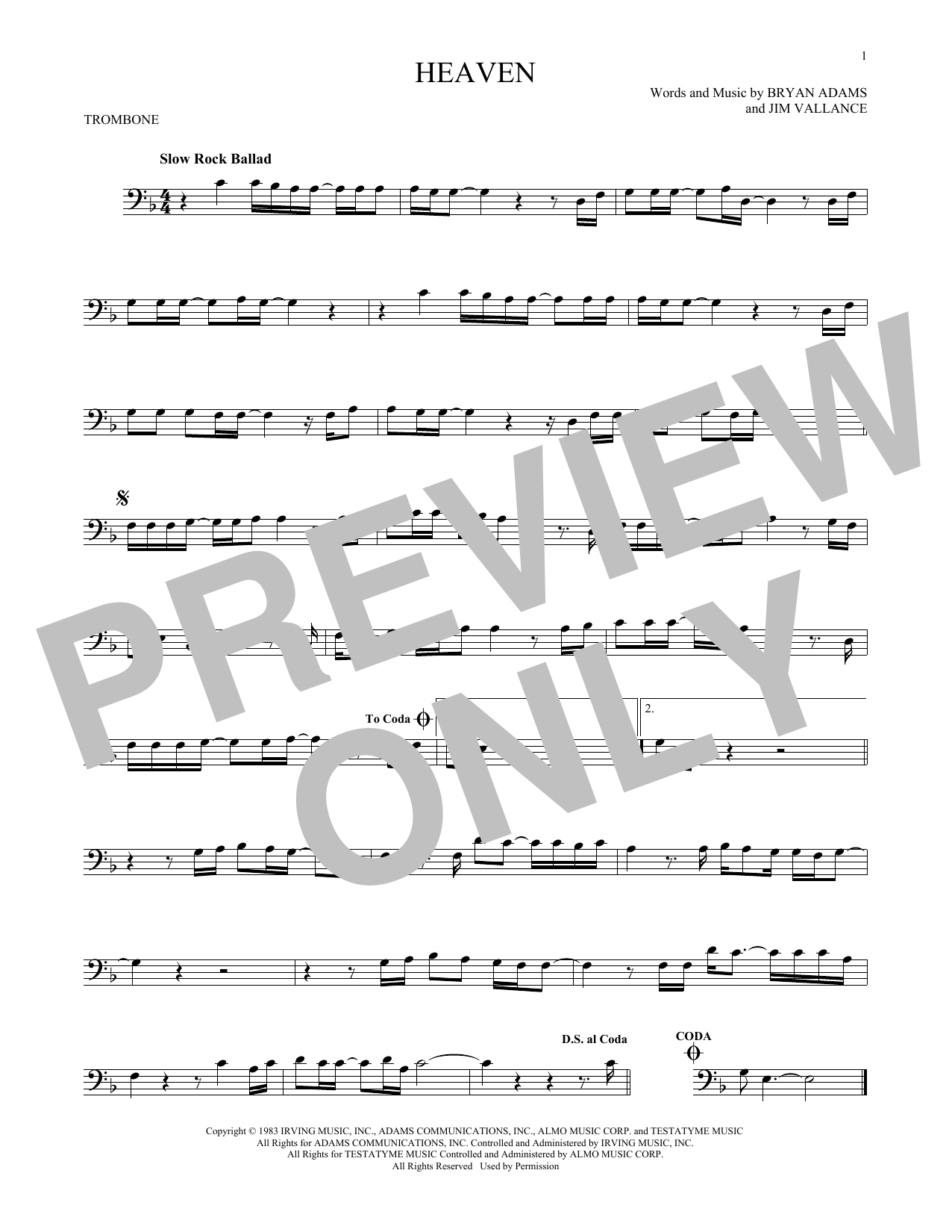 Partition autre Heaven de Bryan Adams - Trombone