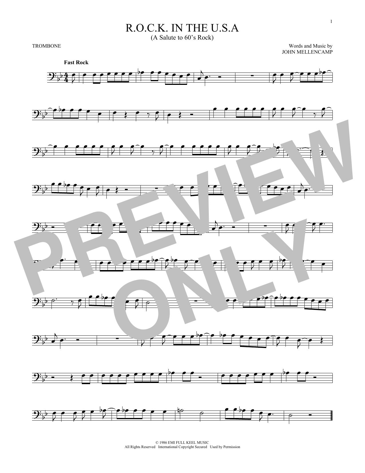R.O.C.K. In The U.S.A. (A Salute To 60's Rock) (Trombone Solo)