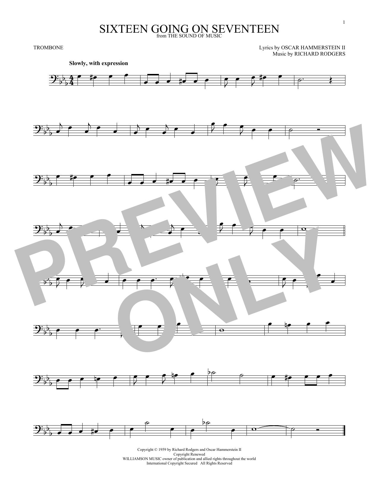 Partition autre Sixteen Going On Seventeen de Rodgers & Hammerstein - Trombone