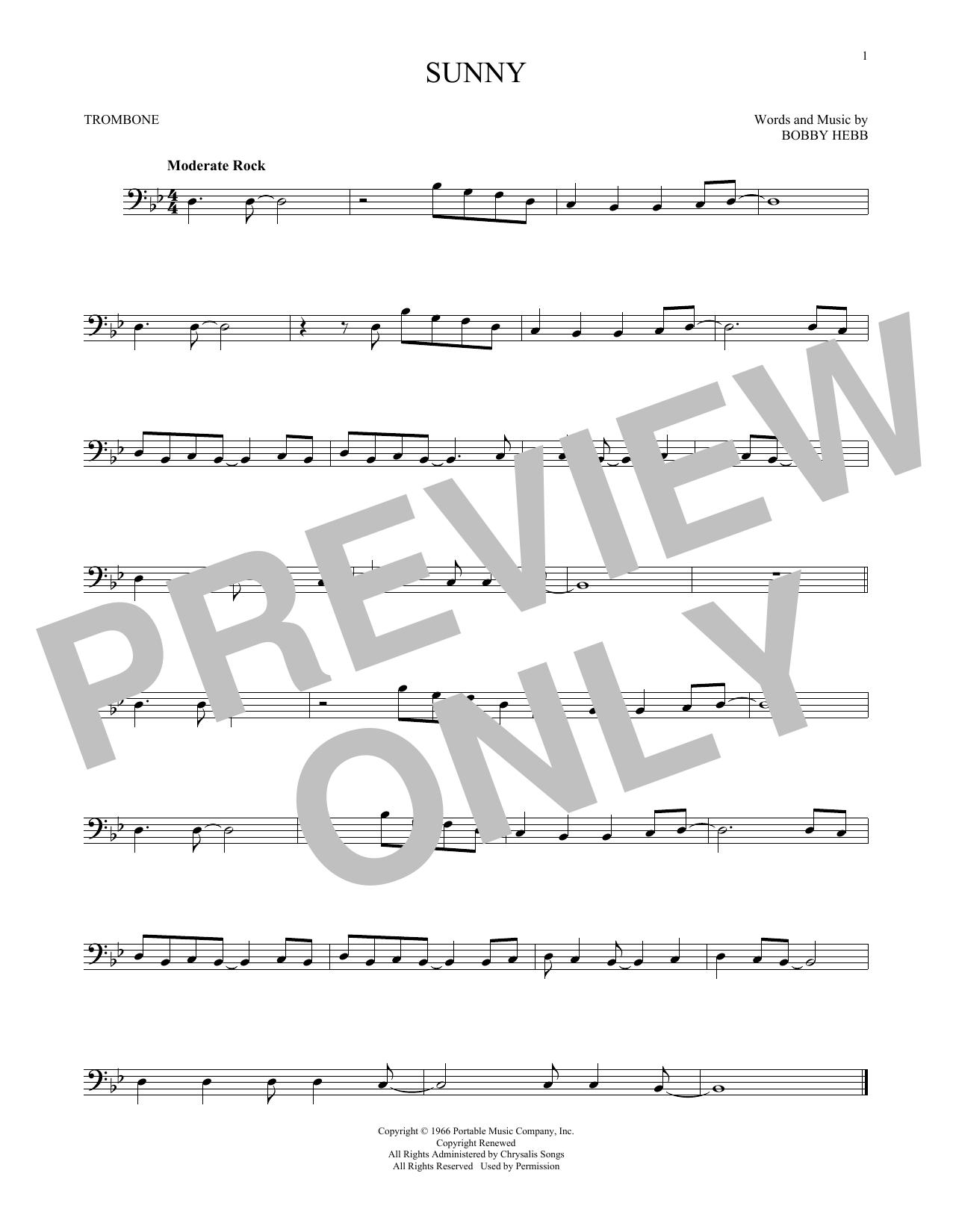Partition autre Sunny de Bobby Hebb - Trombone