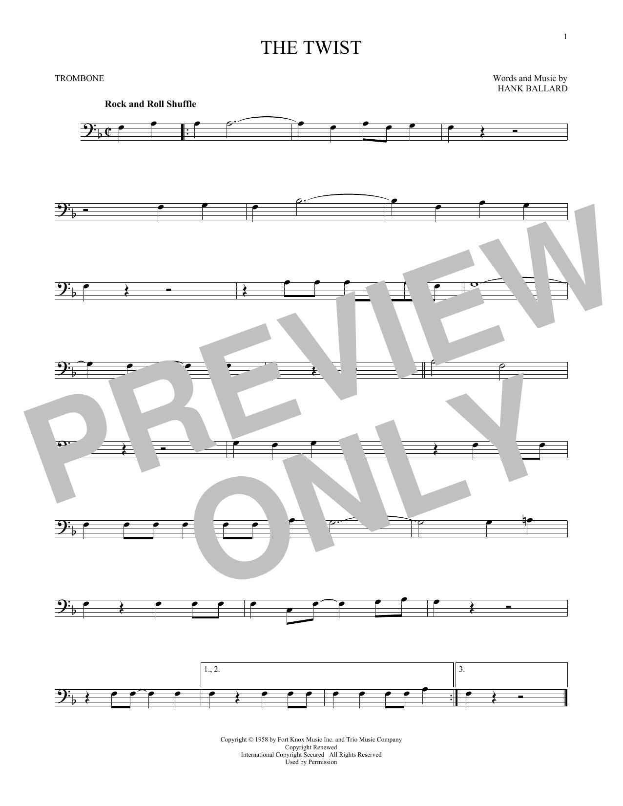 Partition autre The Twist de Chubby Checker - Trombone