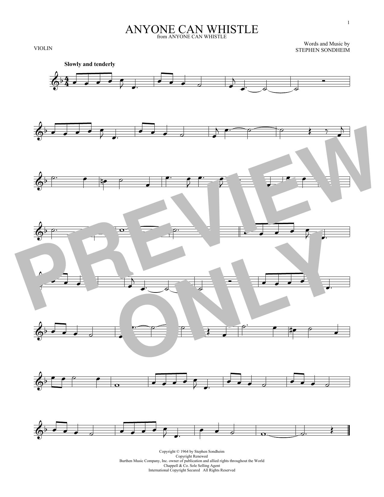 Partition autre Anyone Can Whistle de Stephen Sondheim - Violon