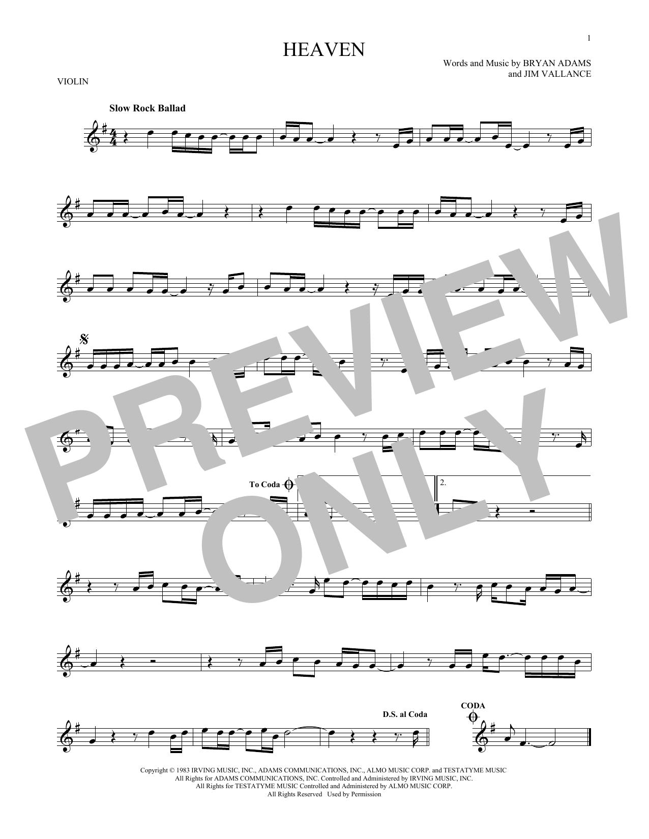 Partition autre Heaven de Bryan Adams - Violon