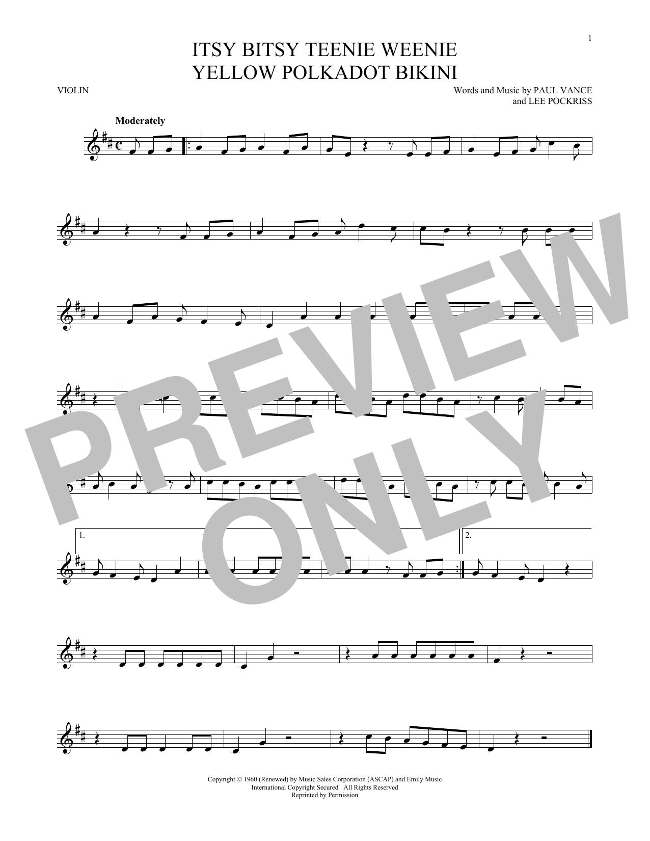 Itsy Bitsy Teenie Weenie Yellow Polkadot Bikini (Violin Solo)