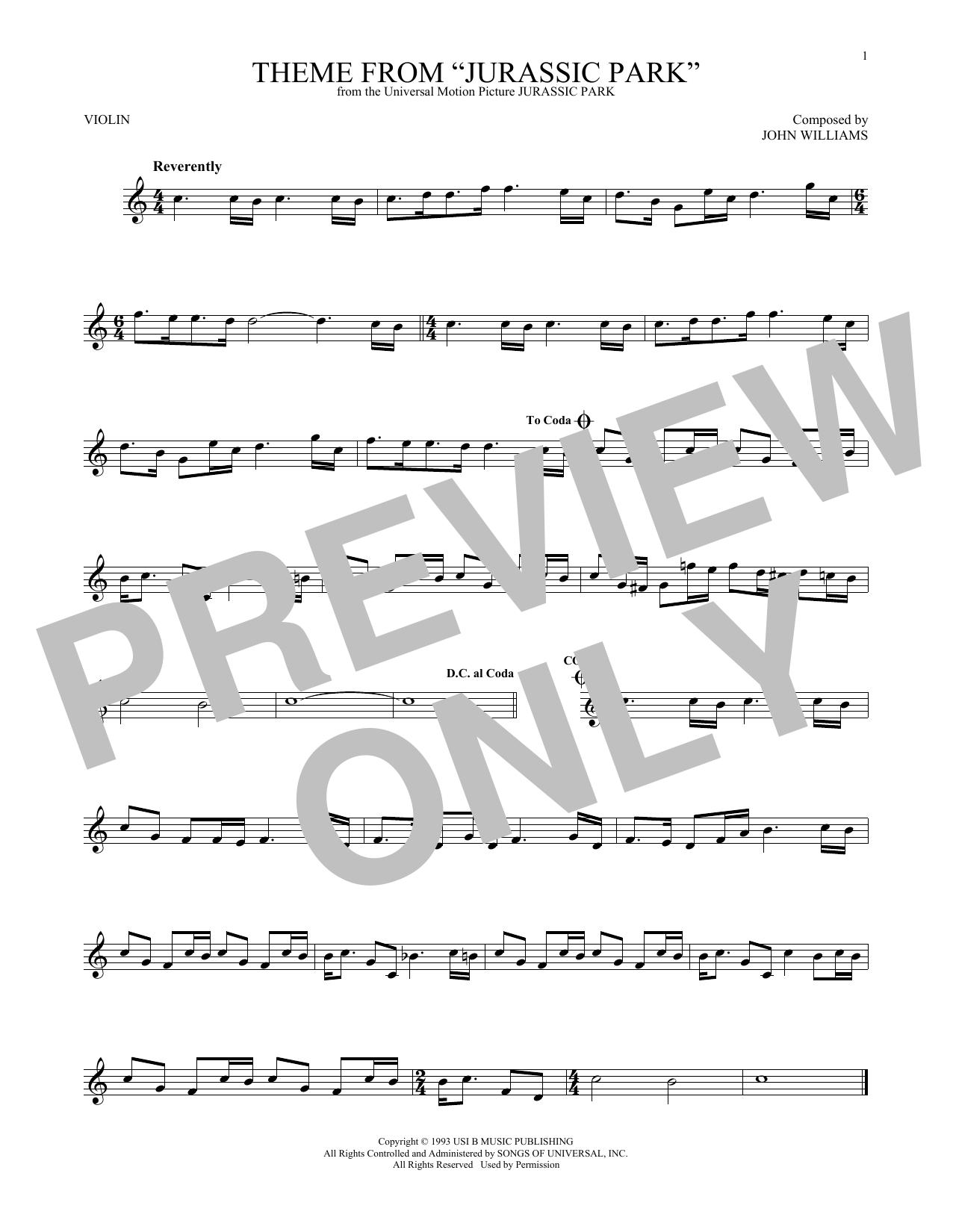 Theme From Jurassic Park (Violin Solo)