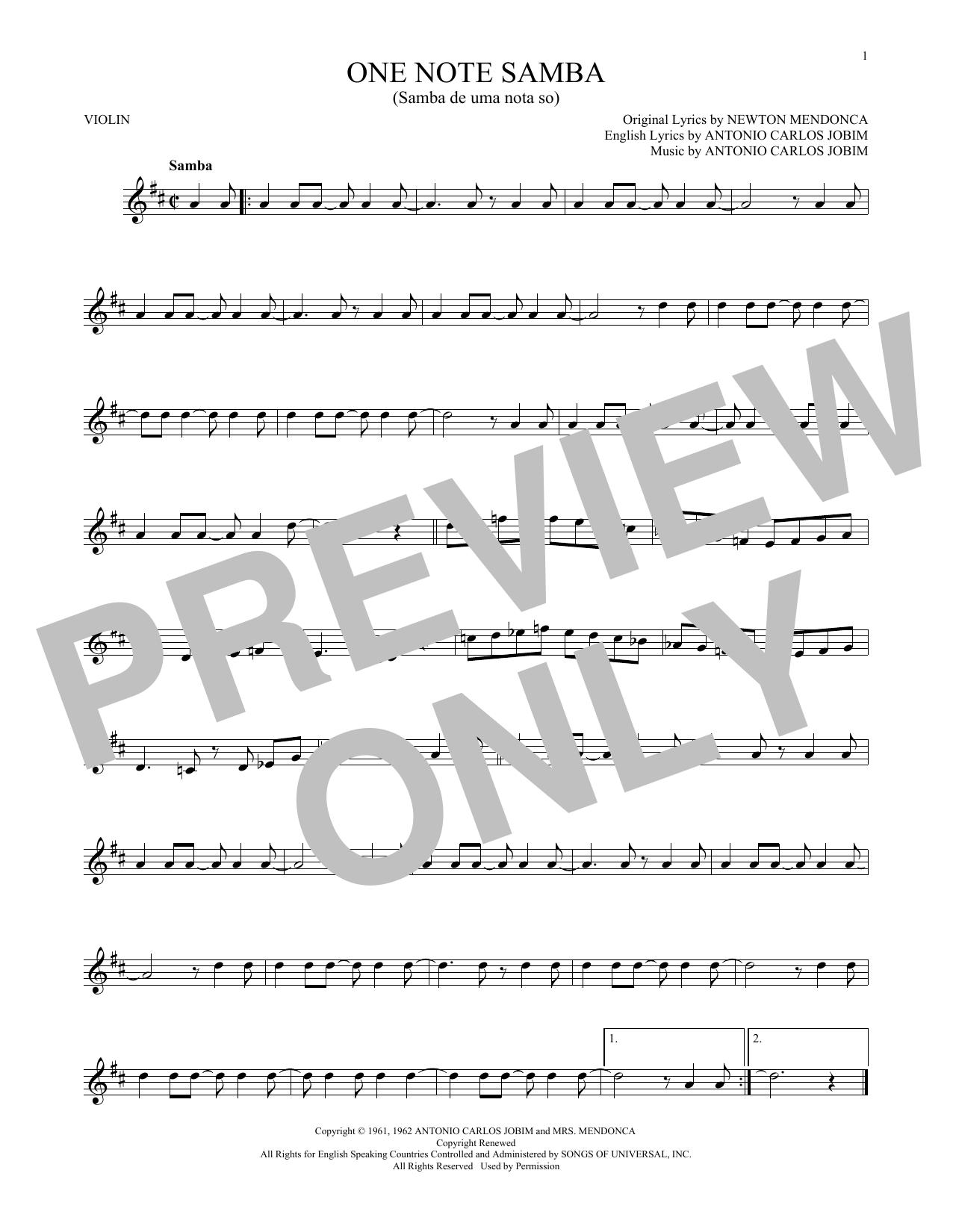 One Note Samba (Samba De Uma Nota So) (Violin Solo)