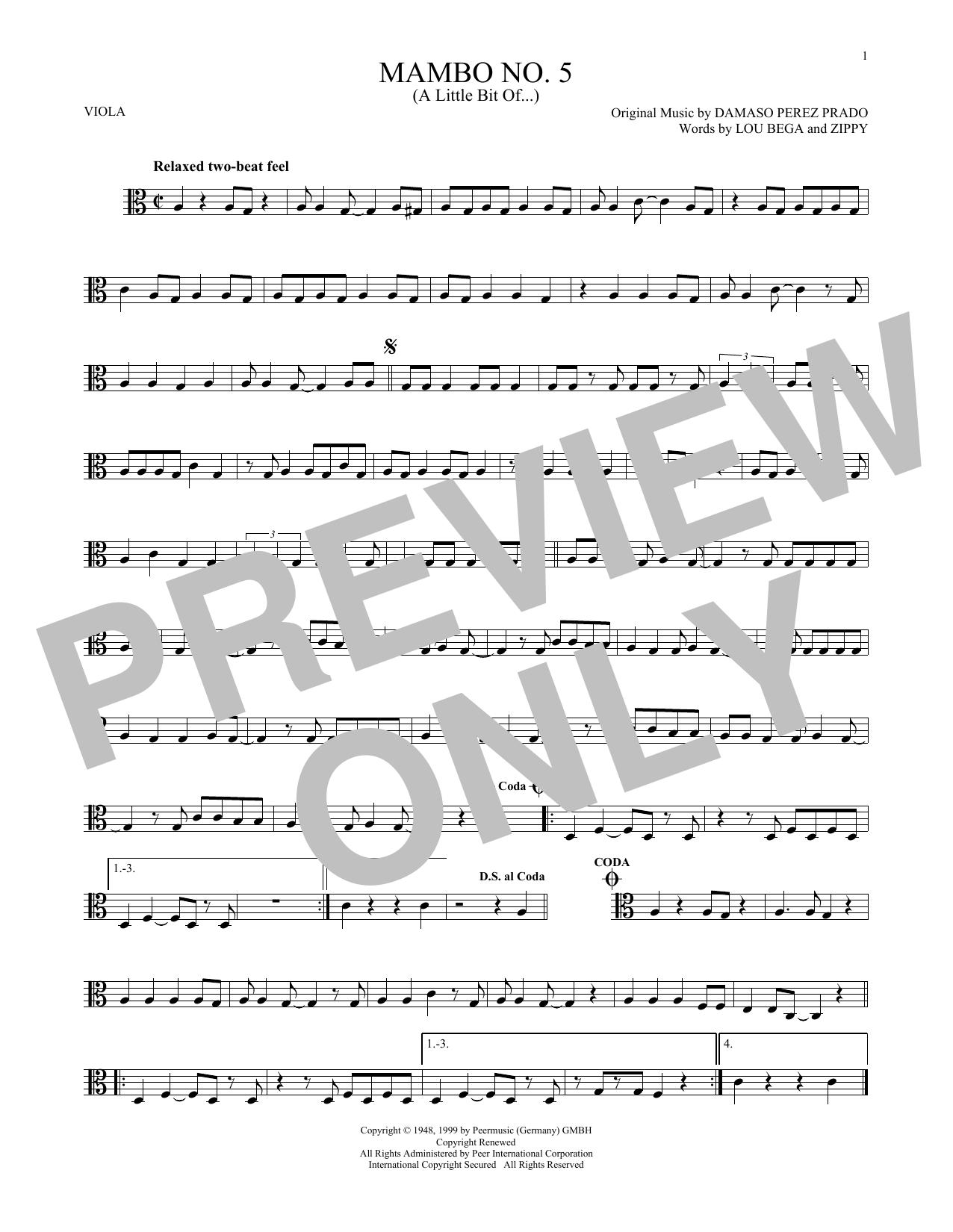 Partition autre Mambo No. 5 (A Little Bit Of...) de Lou Bega - Autre
