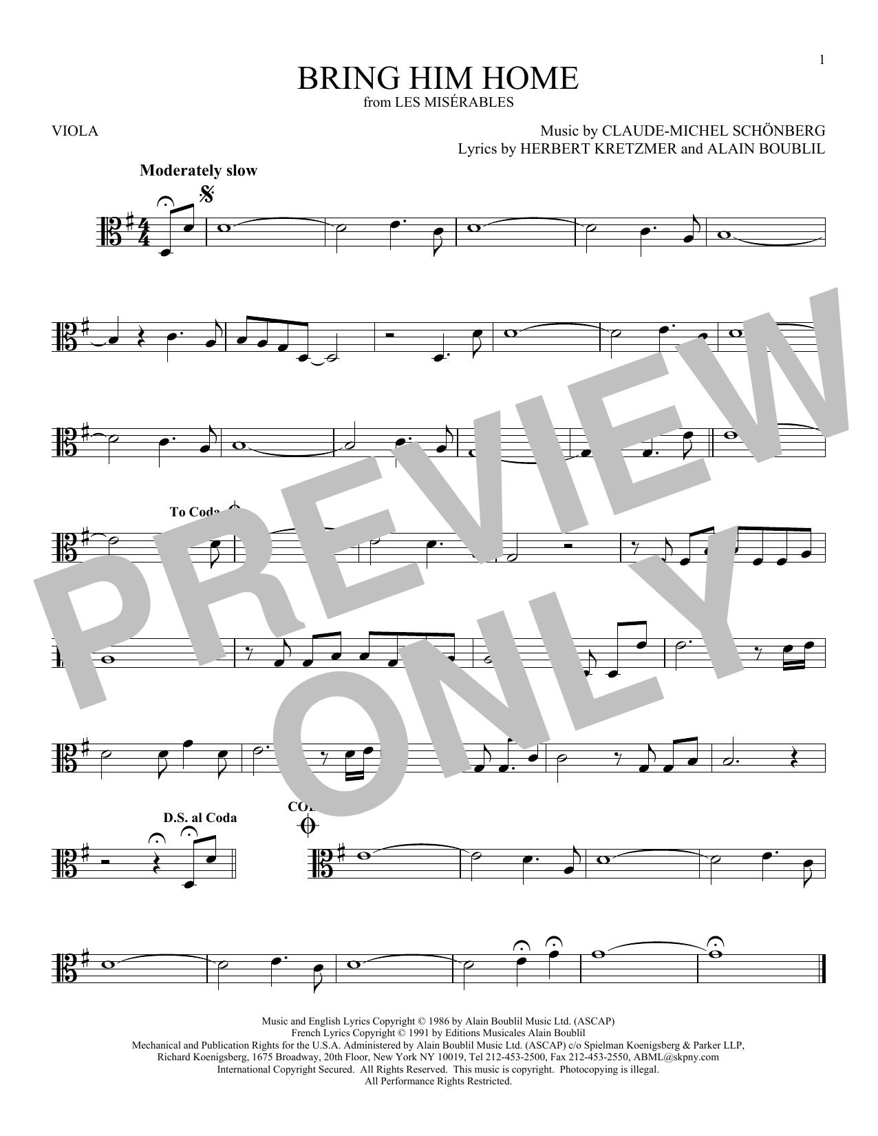 Bring Him Home (Viola Solo)