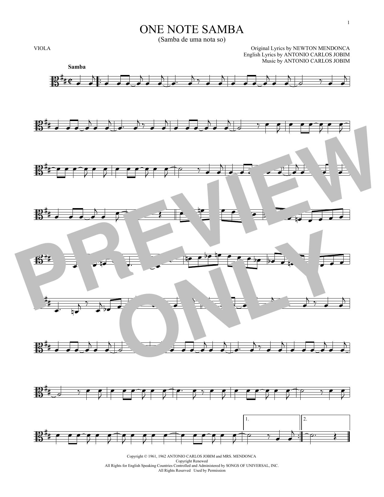 One Note Samba (Samba De Uma Nota So) (Viola Solo)