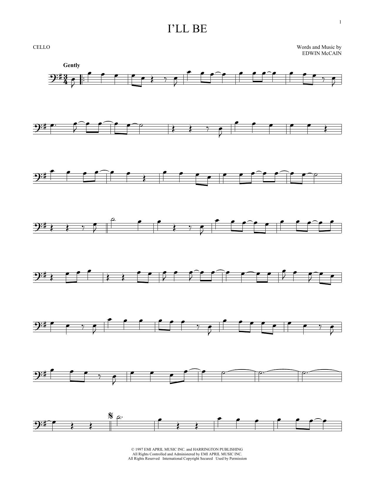 I'll Be (Cello Solo)