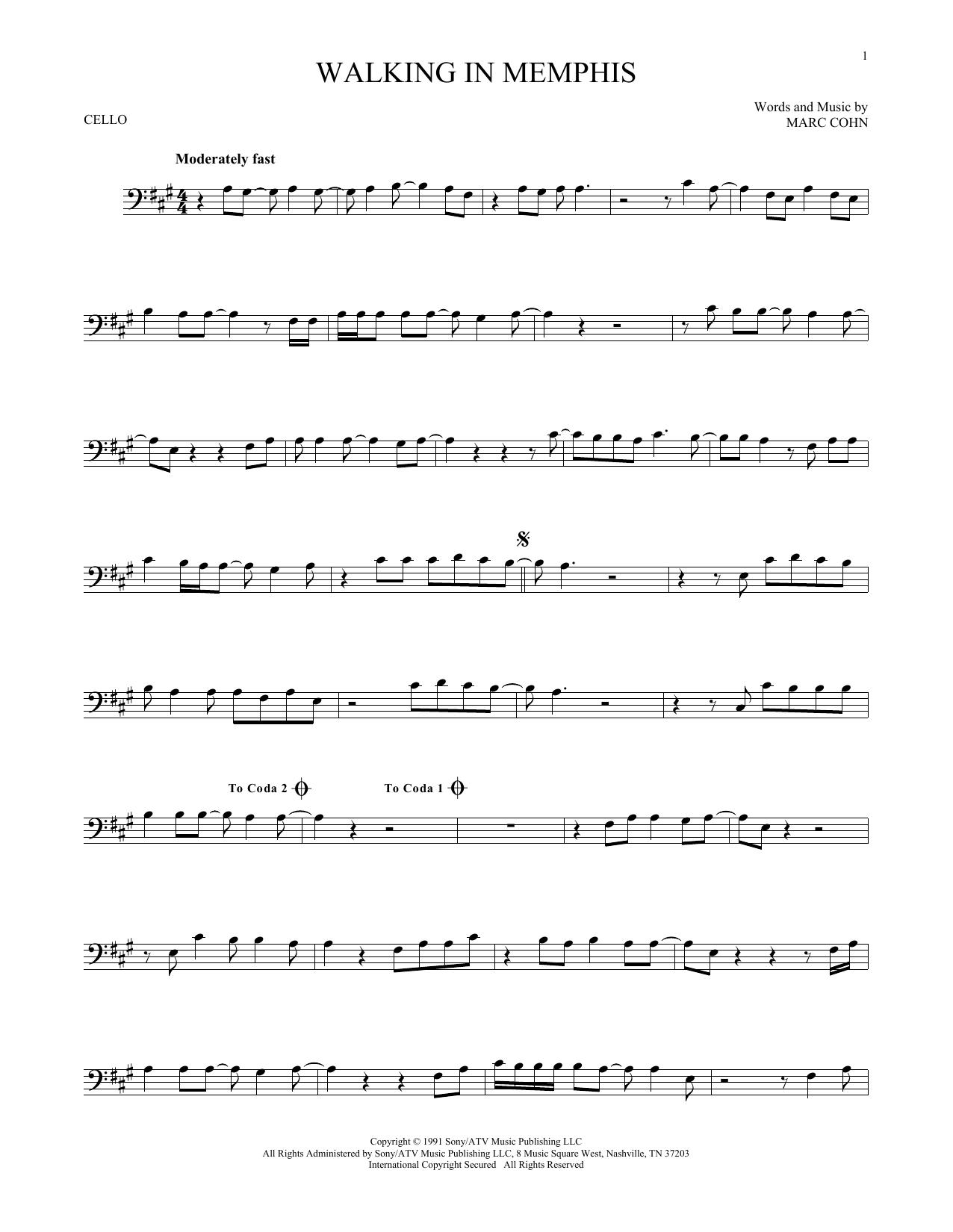 Partition autre Walking In Memphis de Marc Cohn - Violoncelle