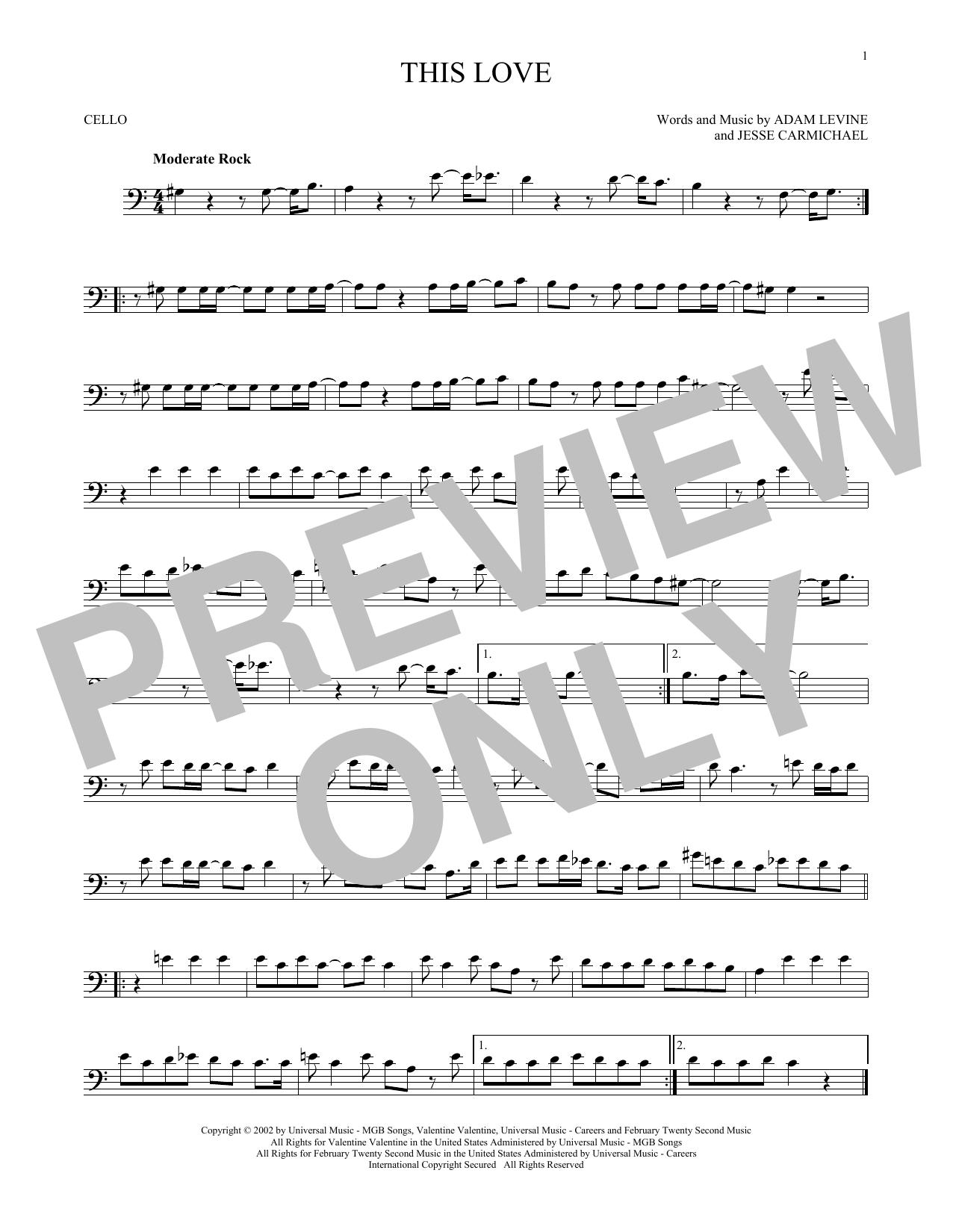 Partition autre This Love de Maroon 5 - Violoncelle