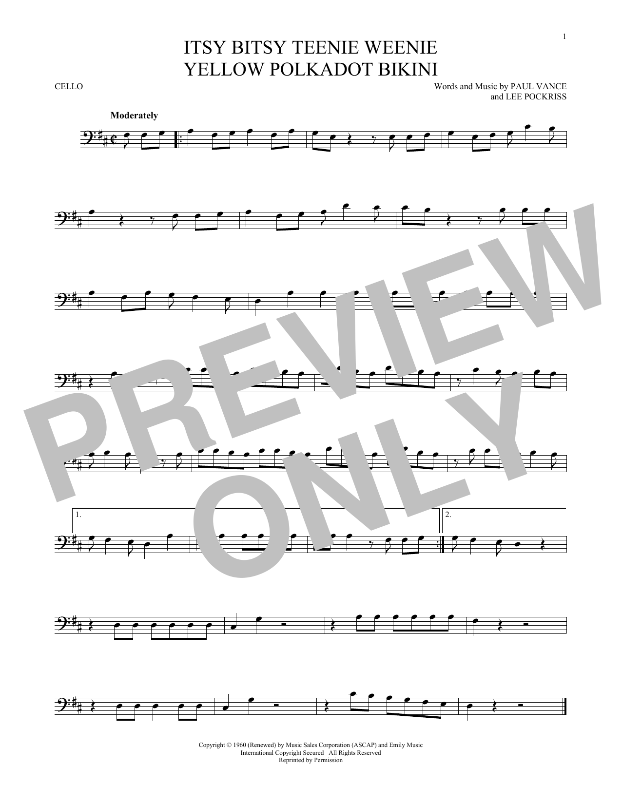Itsy Bitsy Teenie Weenie Yellow Polkadot Bikini Sheet Music