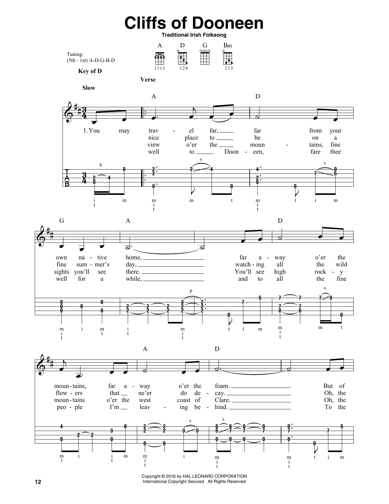 Cliffs Of Doneen by Traditional Irish Folk Song Banjo Tab Digital Sheet  Music