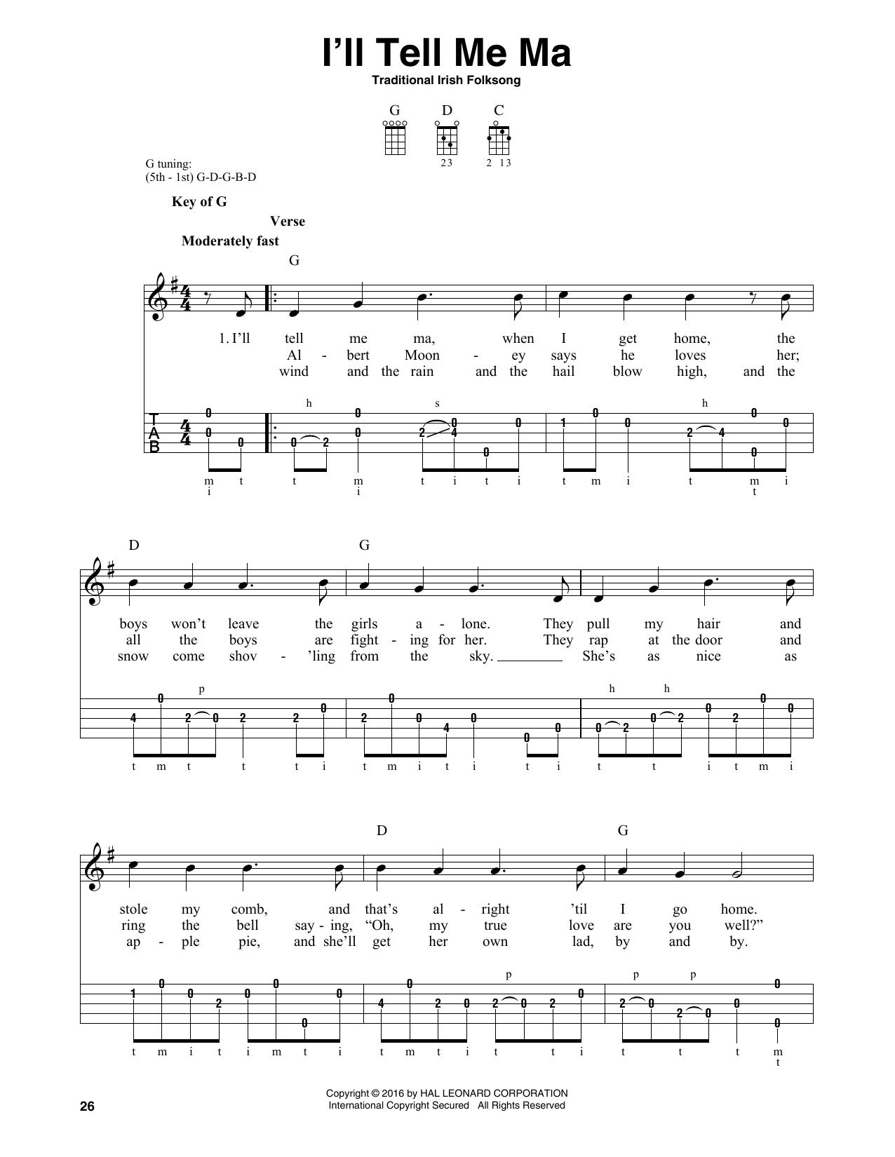 I'll Tell Me Ma (Banjo Tab)