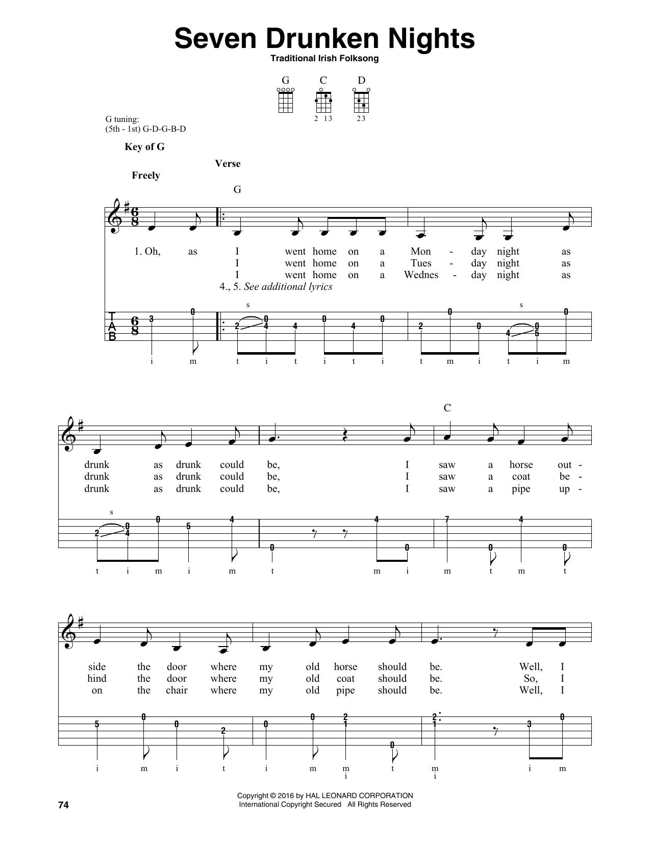 Partition autre Seven Drunken Nights de Traditional Irish Folk Song - Autre