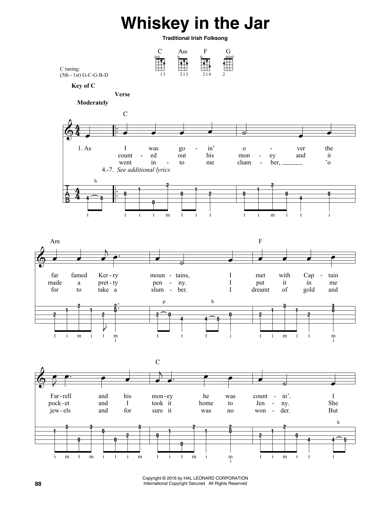 Whiskey In The Jar by Traditional Irish Folk Song Banjo Tab Digital Sheet  Music