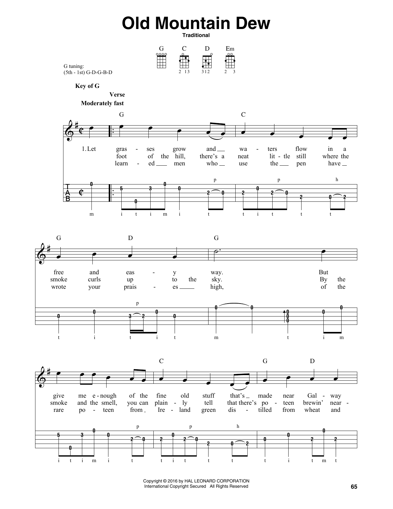 Old Mountain Dew Sheet Music