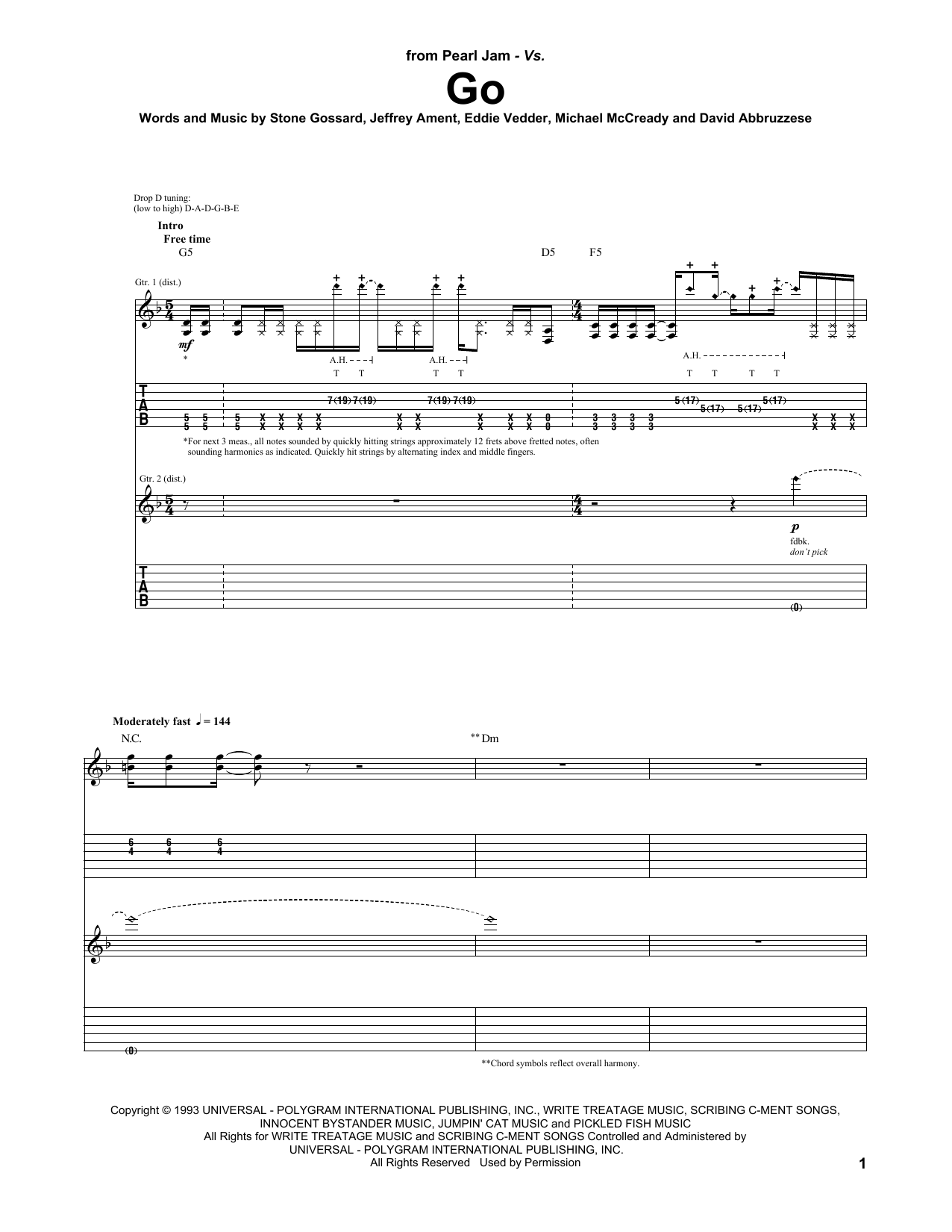 Tablature guitare Go de Pearl Jam - Tablature Guitare