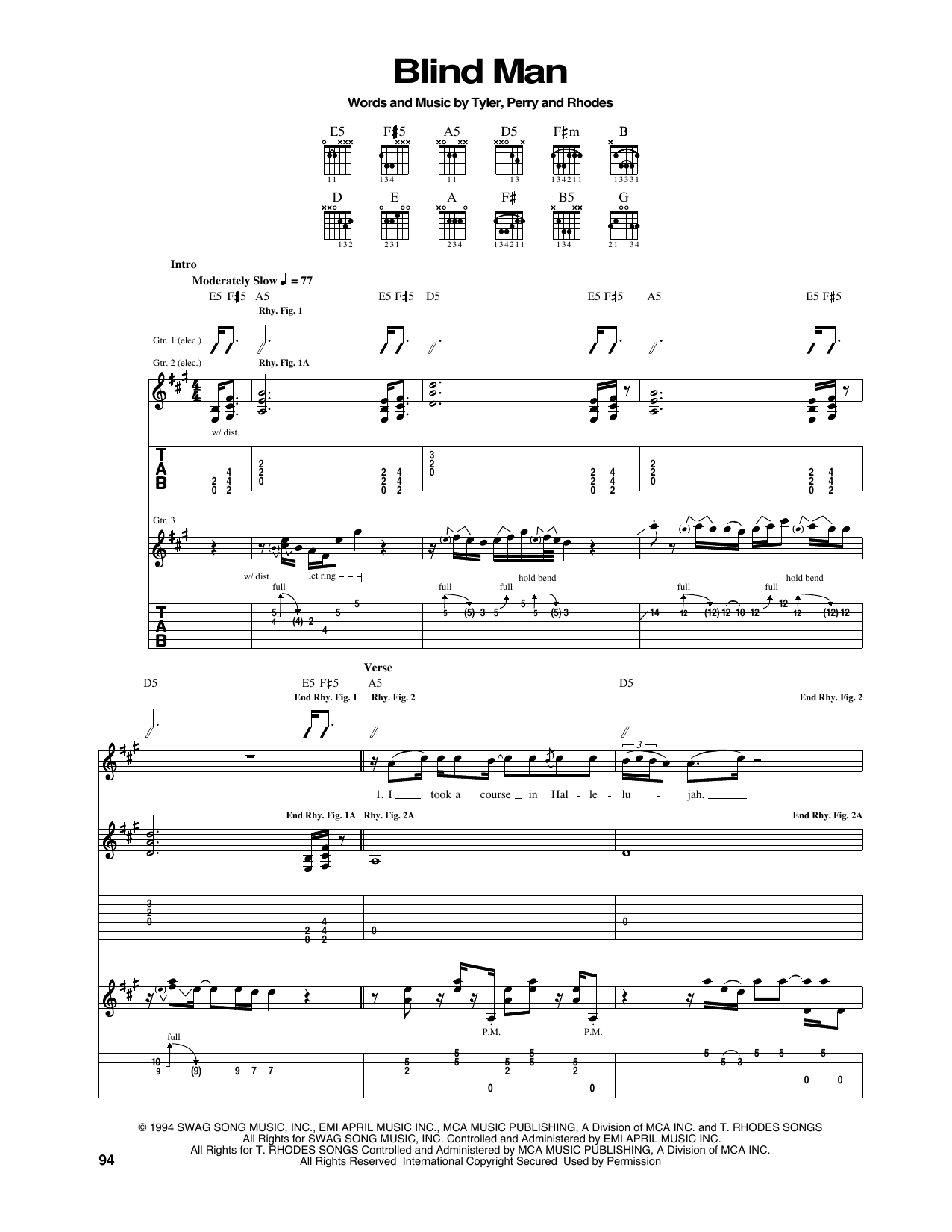 Tablature guitare Blind Man de Aerosmith - Tablature Guitare