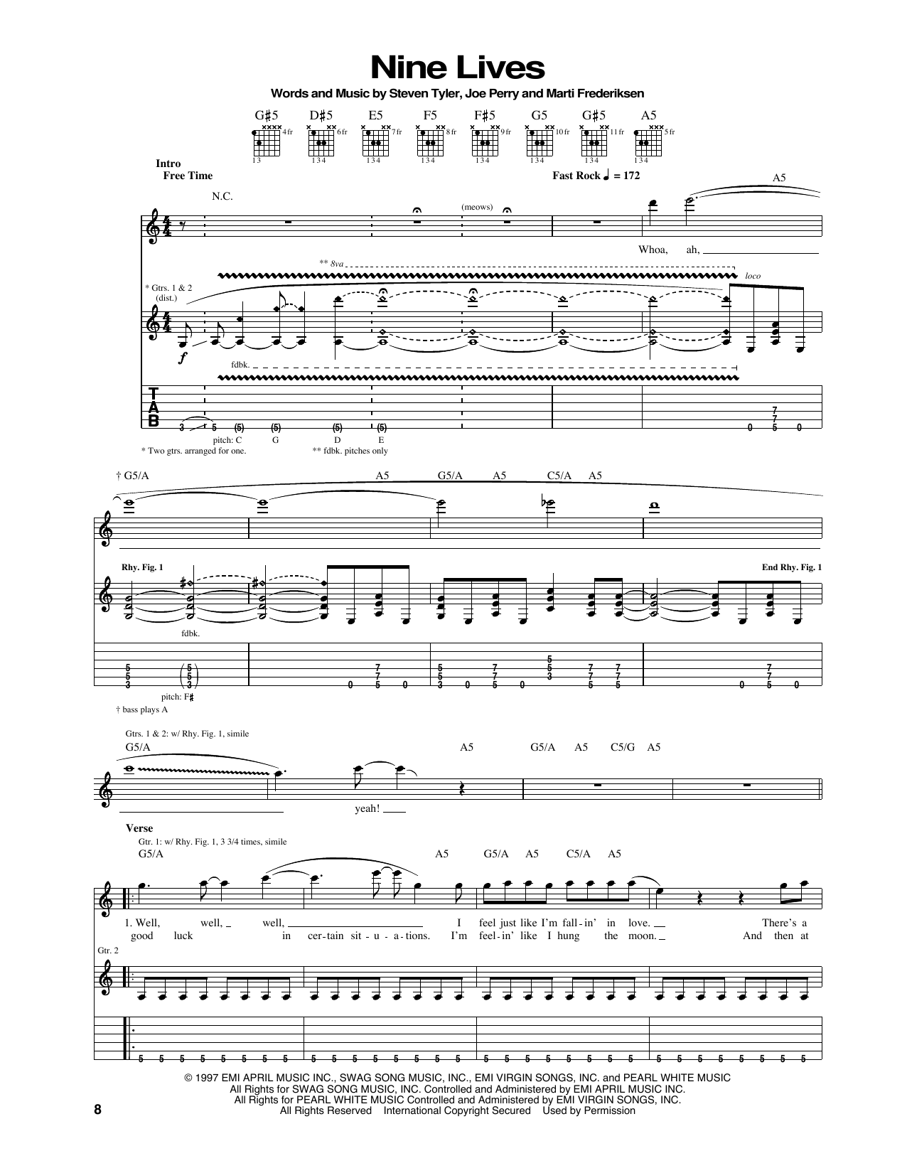 Tablature guitare Nine Lives de Aerosmith - Tablature Guitare